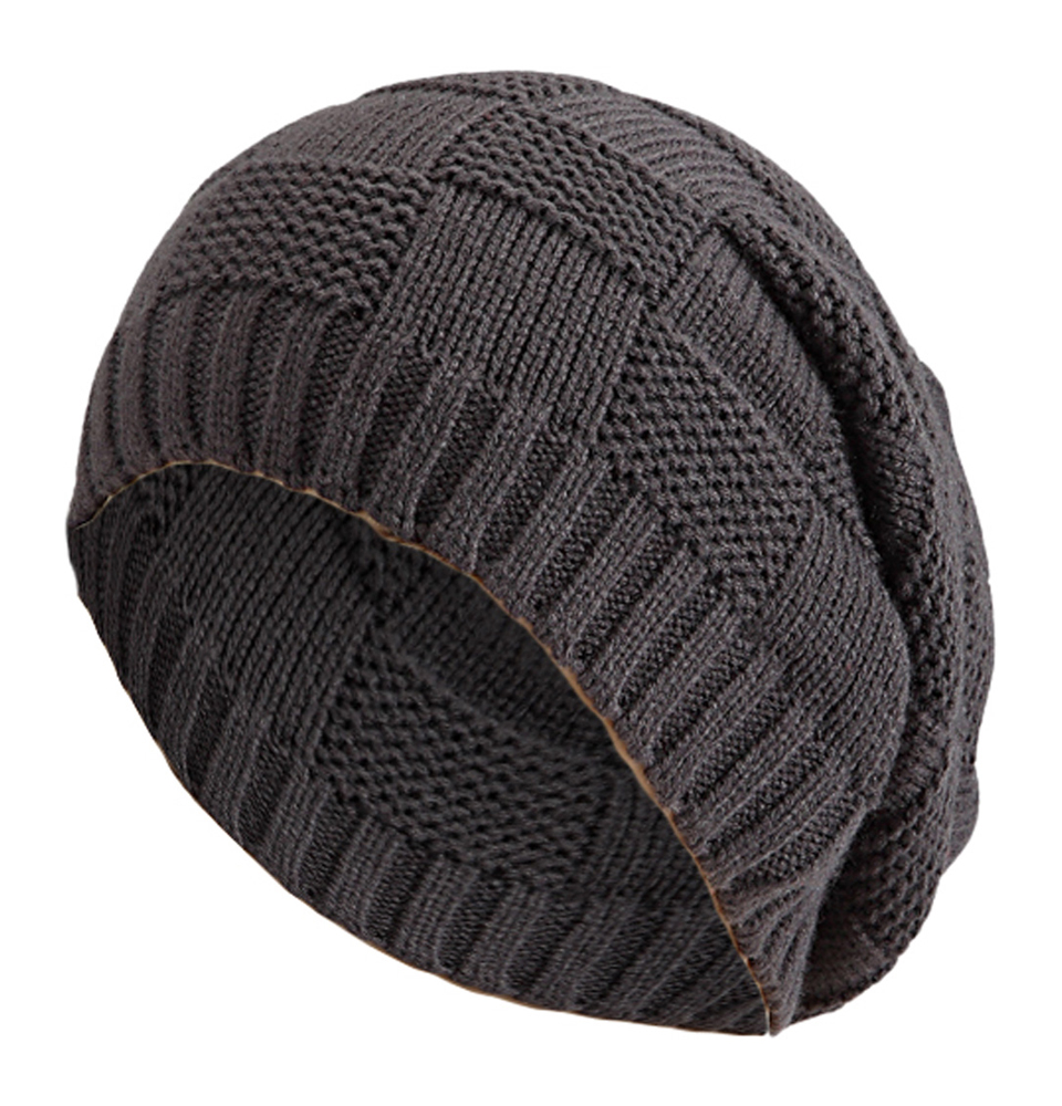 Womens Mens Knitted Cap Striped Design Pattern Long Beanie Slouch H...