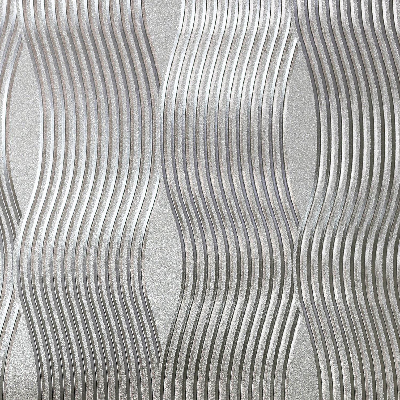 Arthouse argento carta da parati floreale damascata for Carta da parati damascata argento