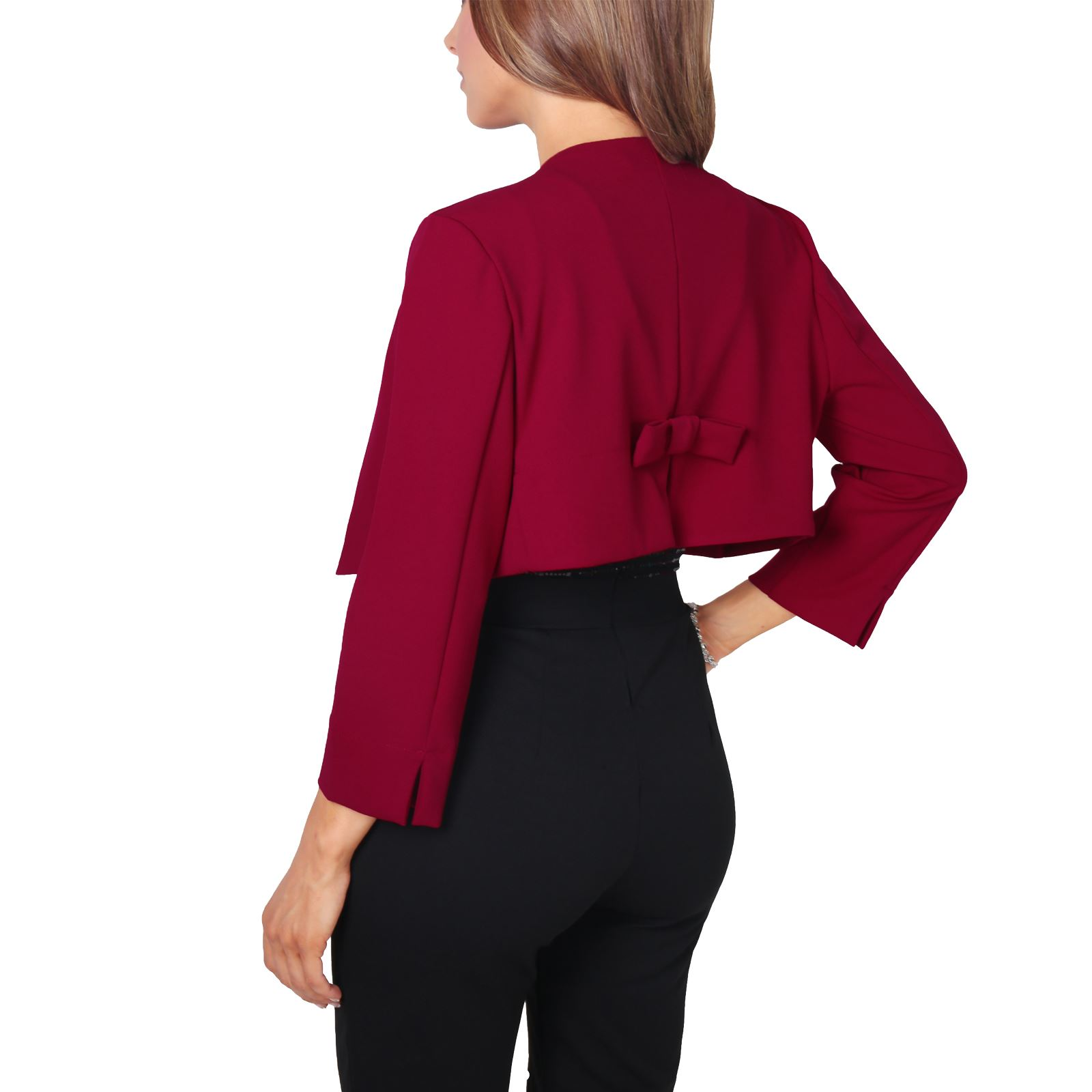 Womens-Ladies-Crop-Open-Fit-Blazer-Bow-Back-Evening-Jacket-Wedding-Bolero-Shrug
