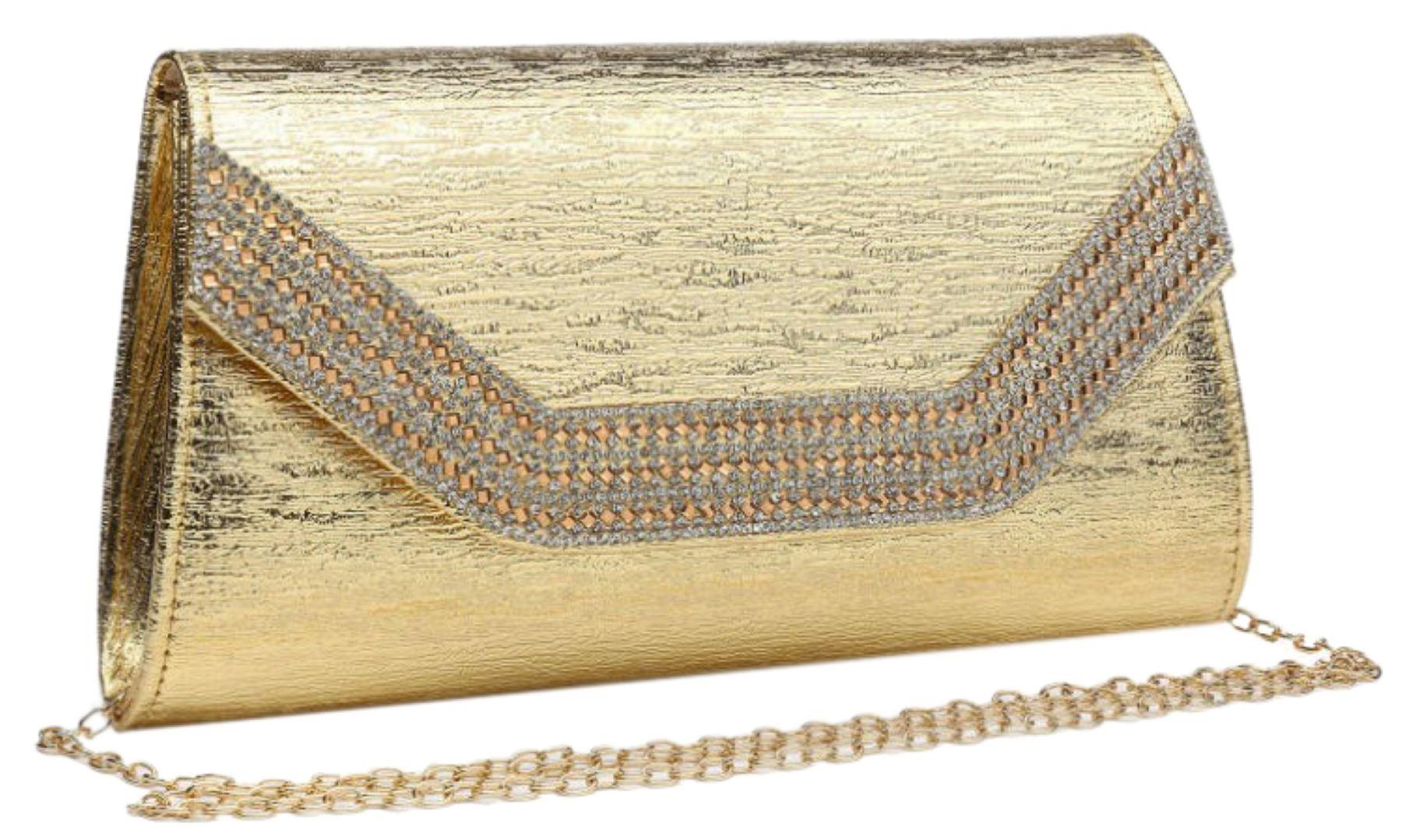 Preciosas Detalles De Mano Diamante Solapa Bolso Oro Rosa Elegante Estampado Piedras 3Aq5R4Lj