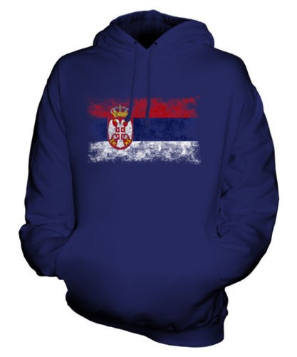 Serbien Distressed Flagge Unisex Kapuzenpulli Top Srbija Serbisch Fußball