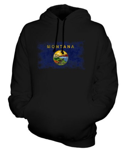 MONTANA STATE DISTRESSED FLAG UNISEX HOODIE TOP MONTANAN JERSEY GIFT