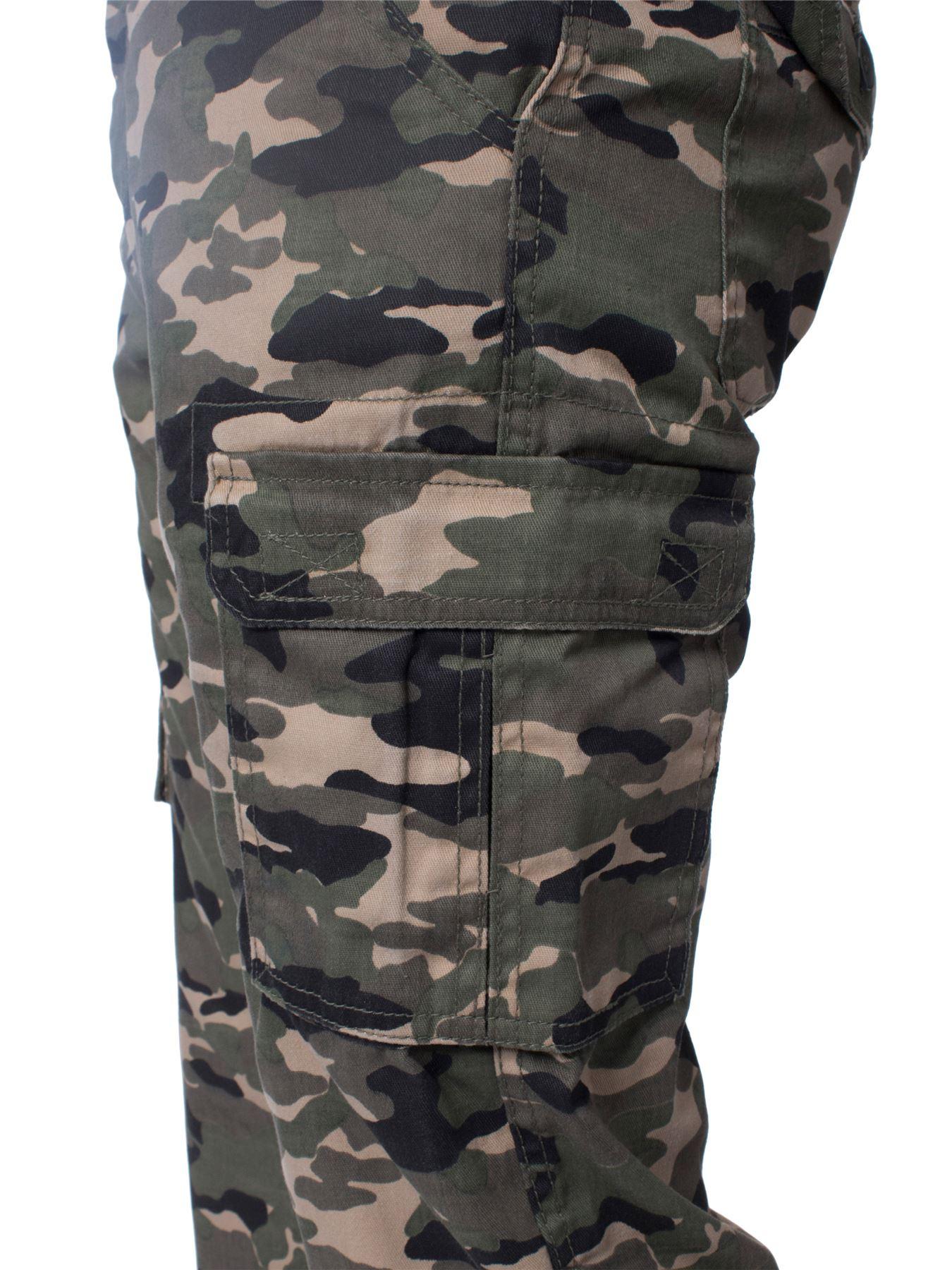 Kruze-Uomo-Militare-Pantaloni-Camouflage-Cargo-Mimetico-Casual-Lavoro miniatura 20