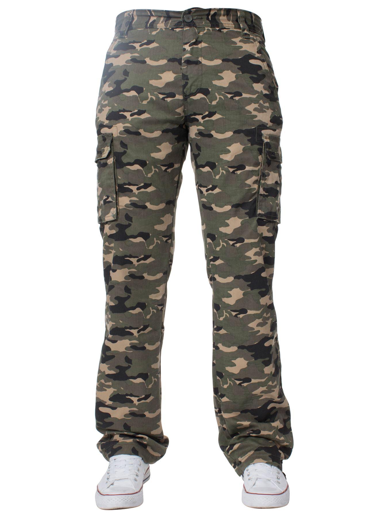 Kruze-Uomo-Militare-Pantaloni-Camouflage-Cargo-Mimetico-Casual-Lavoro miniatura 18