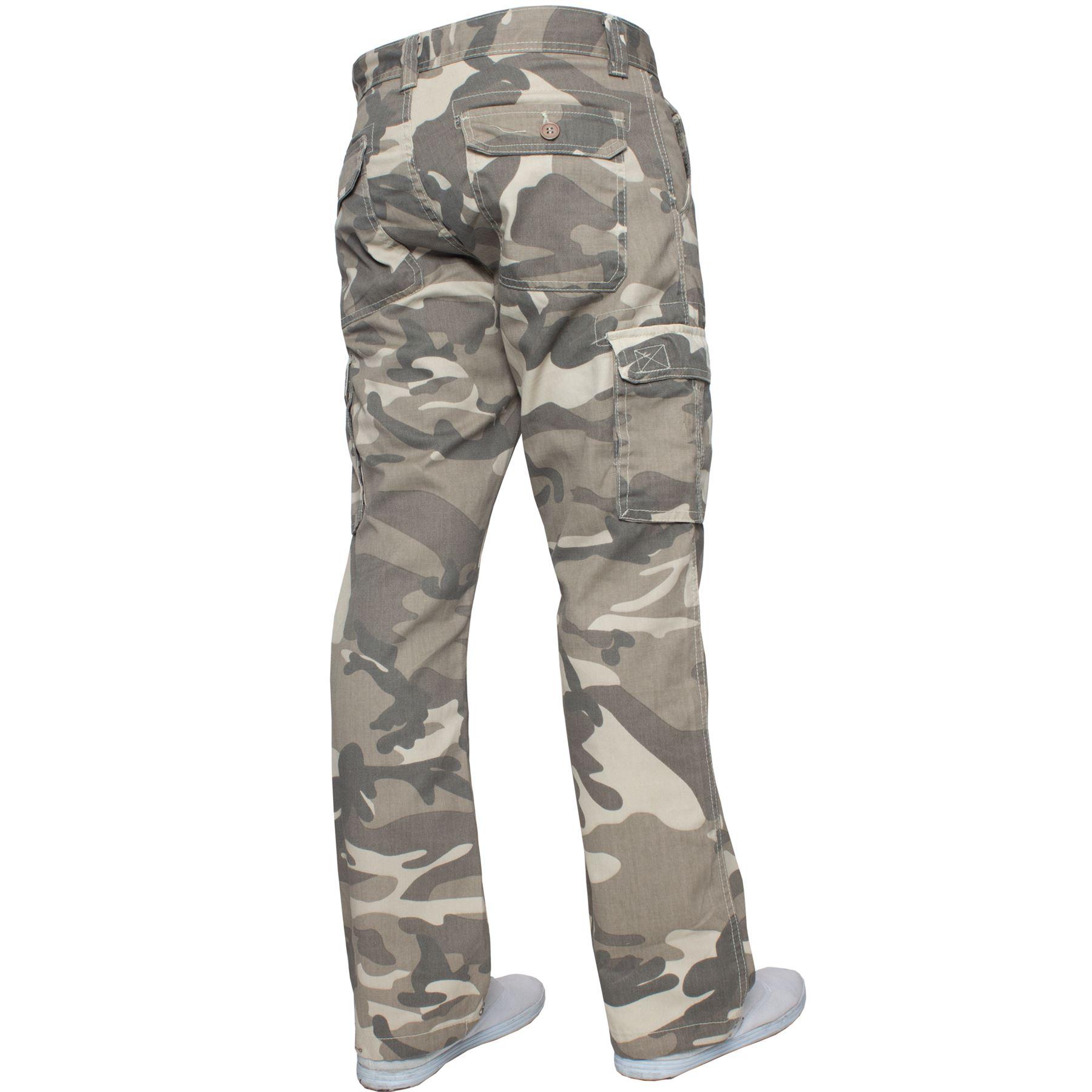 Kruze-Uomo-Militare-Pantaloni-Camouflage-Cargo-Mimetico-Casual-Lavoro miniatura 4