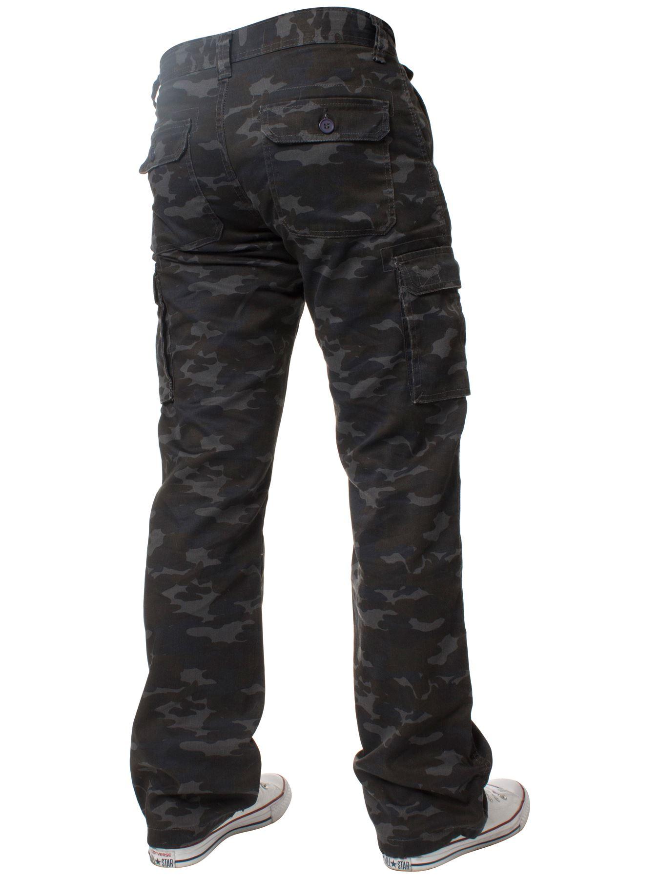 Kruze-Uomo-Militare-Pantaloni-Camouflage-Cargo-Mimetico-Casual-Lavoro miniatura 32
