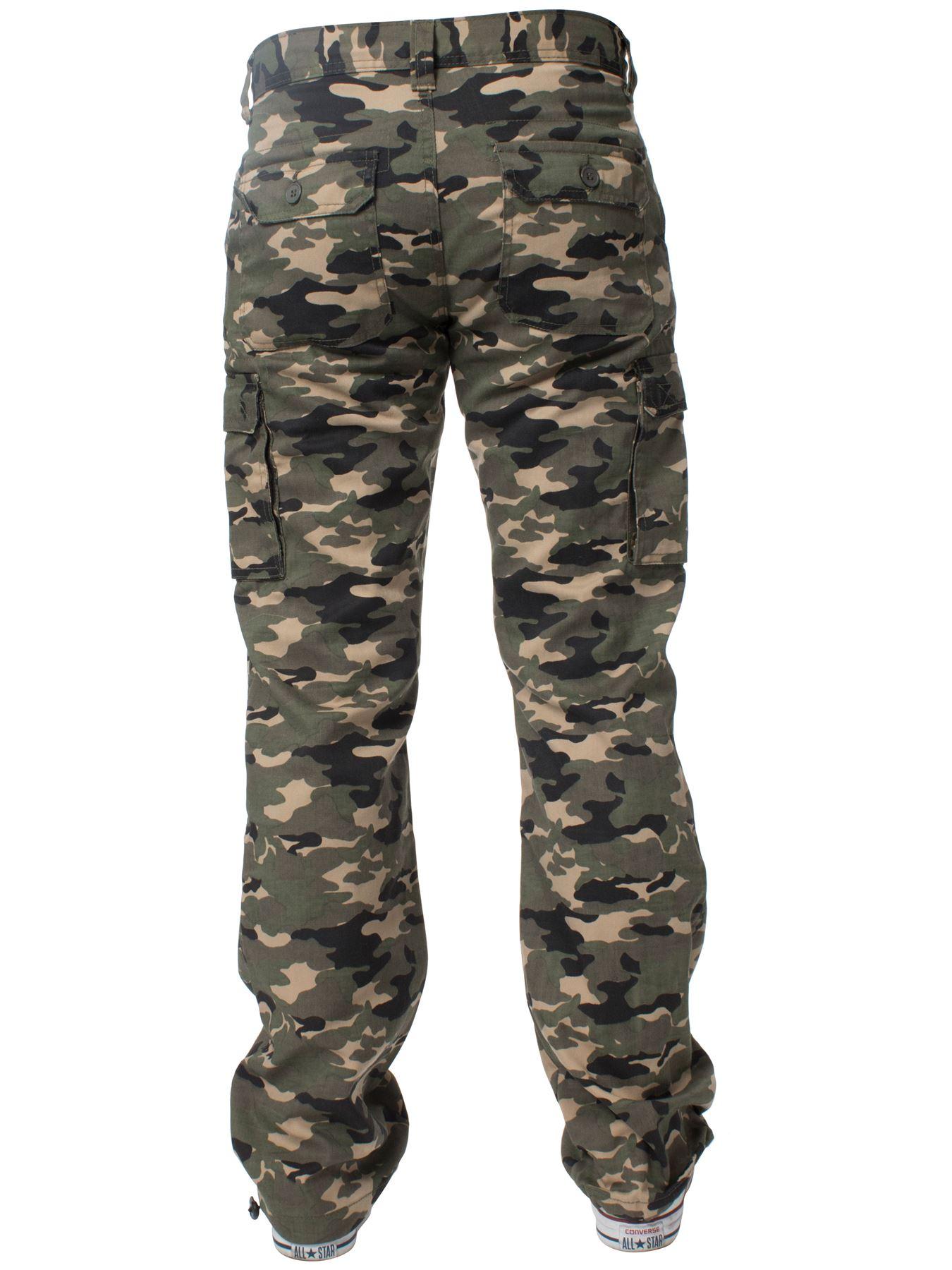 Kruze-Uomo-Militare-Pantaloni-Camouflage-Cargo-Mimetico-Casual-Lavoro miniatura 19