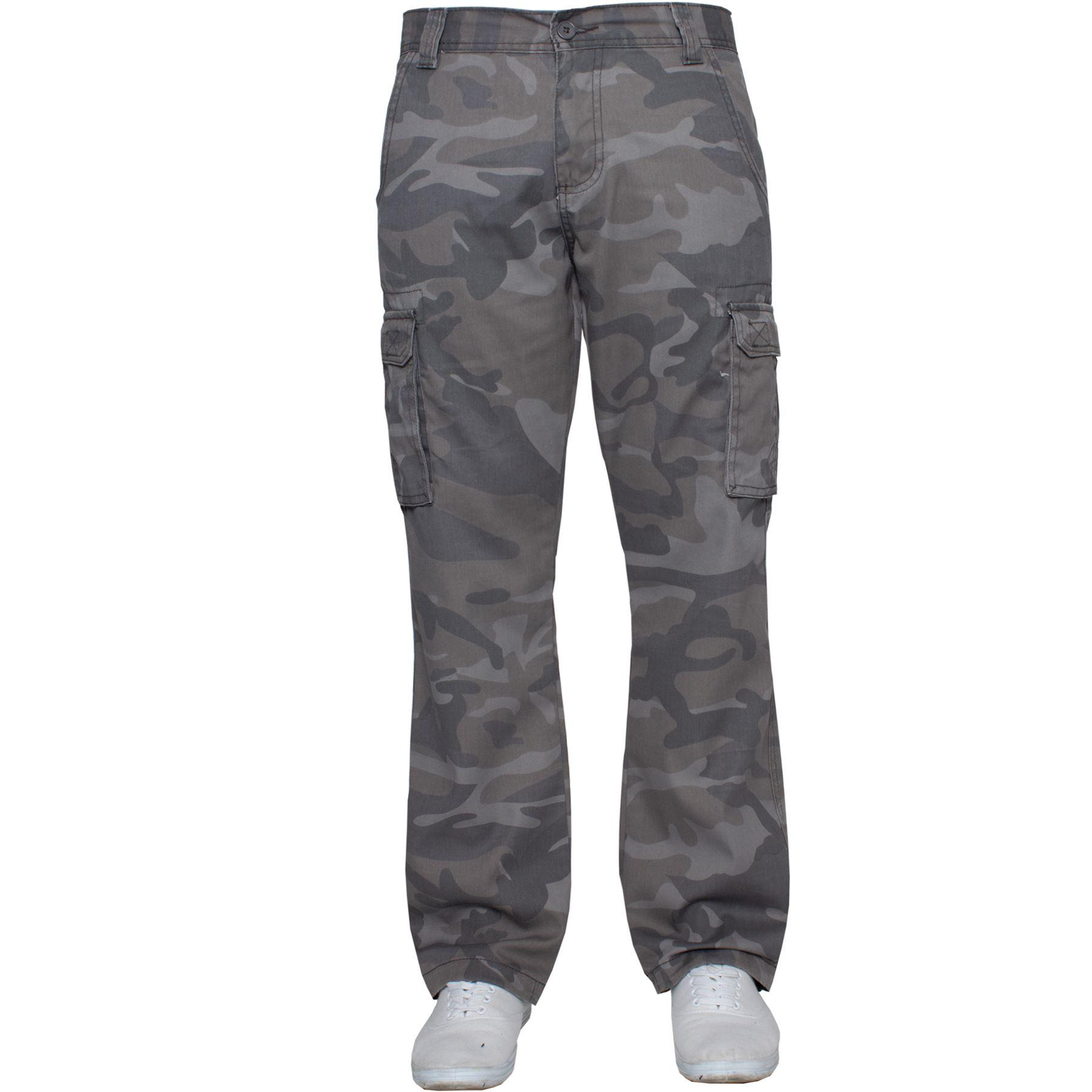 Kruze-Uomo-Militare-Pantaloni-Camouflage-Cargo-Mimetico-Casual-Lavoro miniatura 12
