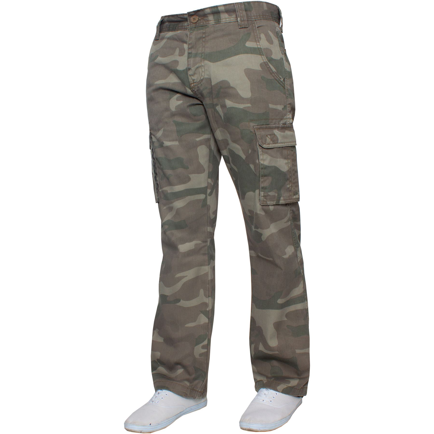 Kruze-Uomo-Militare-Pantaloni-Camouflage-Cargo-Mimetico-Casual-Lavoro miniatura 25