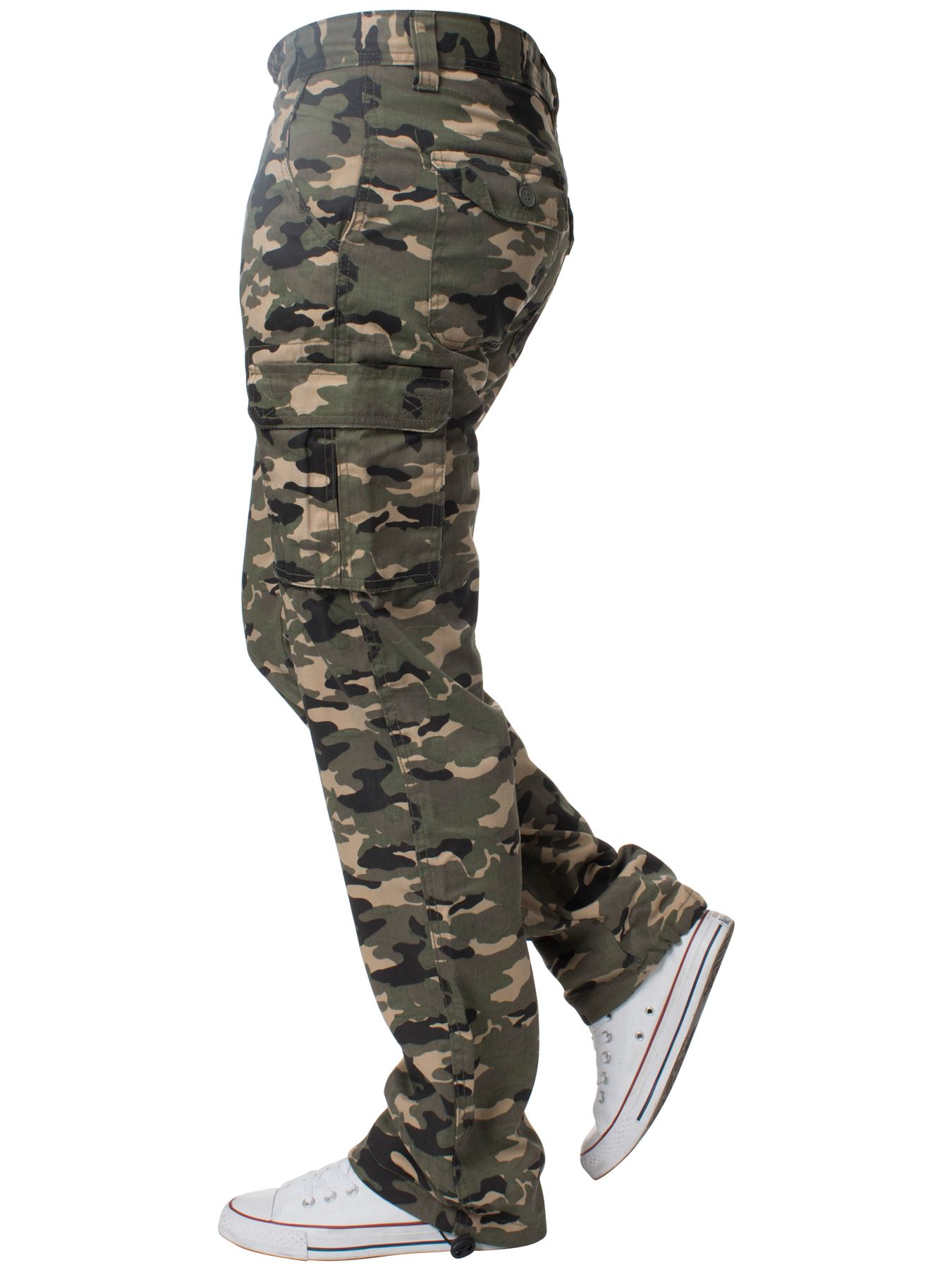 Kruze-Uomo-Militare-Pantaloni-Camouflage-Cargo-Mimetico-Casual-Lavoro miniatura 17