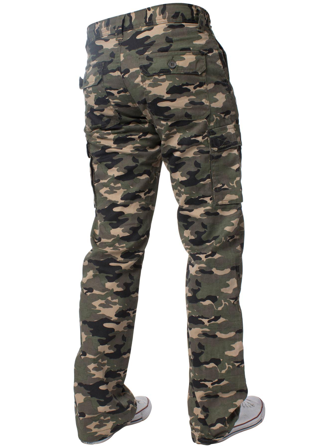 Kruze-Uomo-Militare-Pantaloni-Camouflage-Cargo-Mimetico-Casual-Lavoro miniatura 16