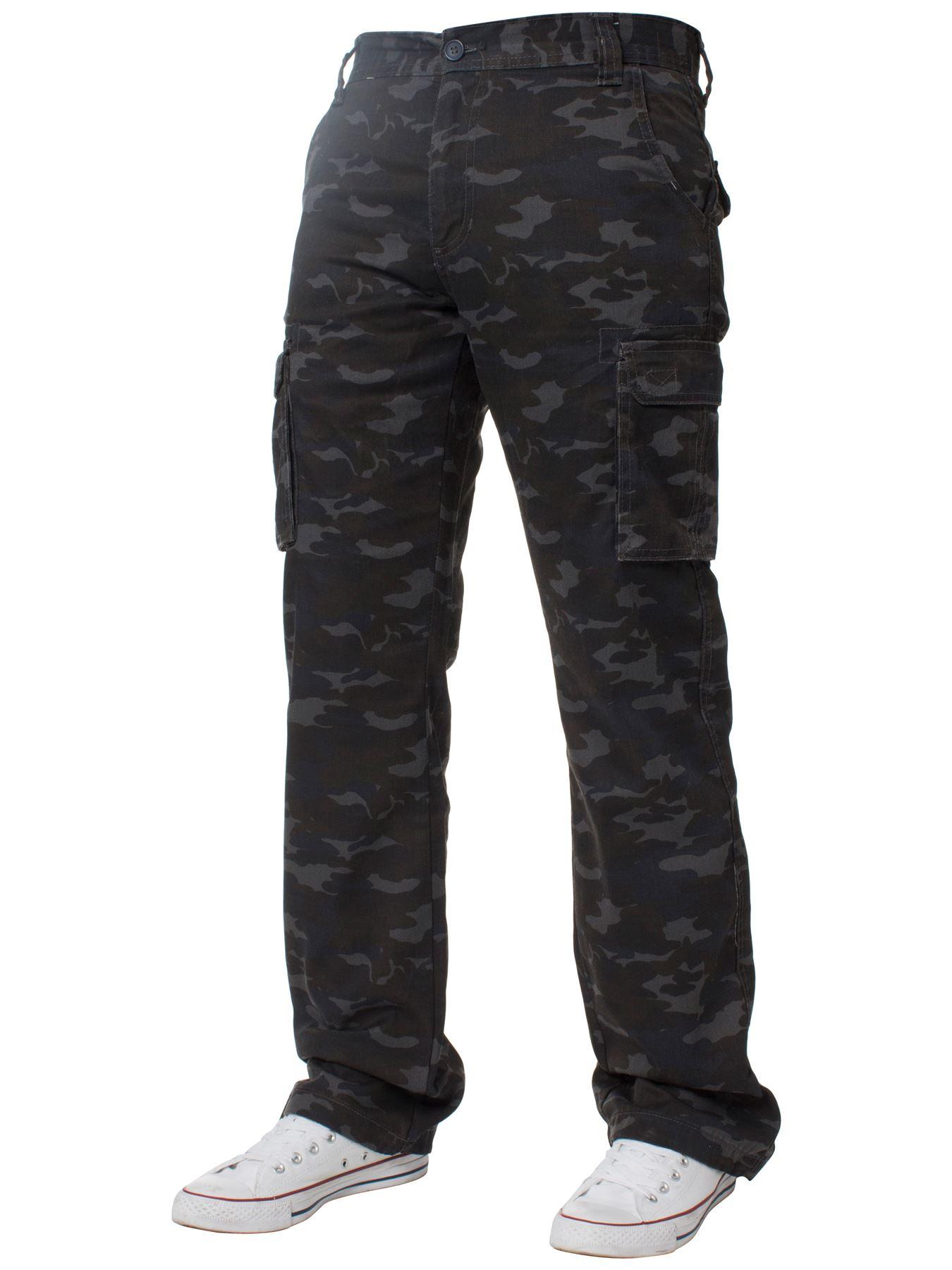 Kruze-Uomo-Militare-Pantaloni-Camouflage-Cargo-Mimetico-Casual-Lavoro miniatura 31