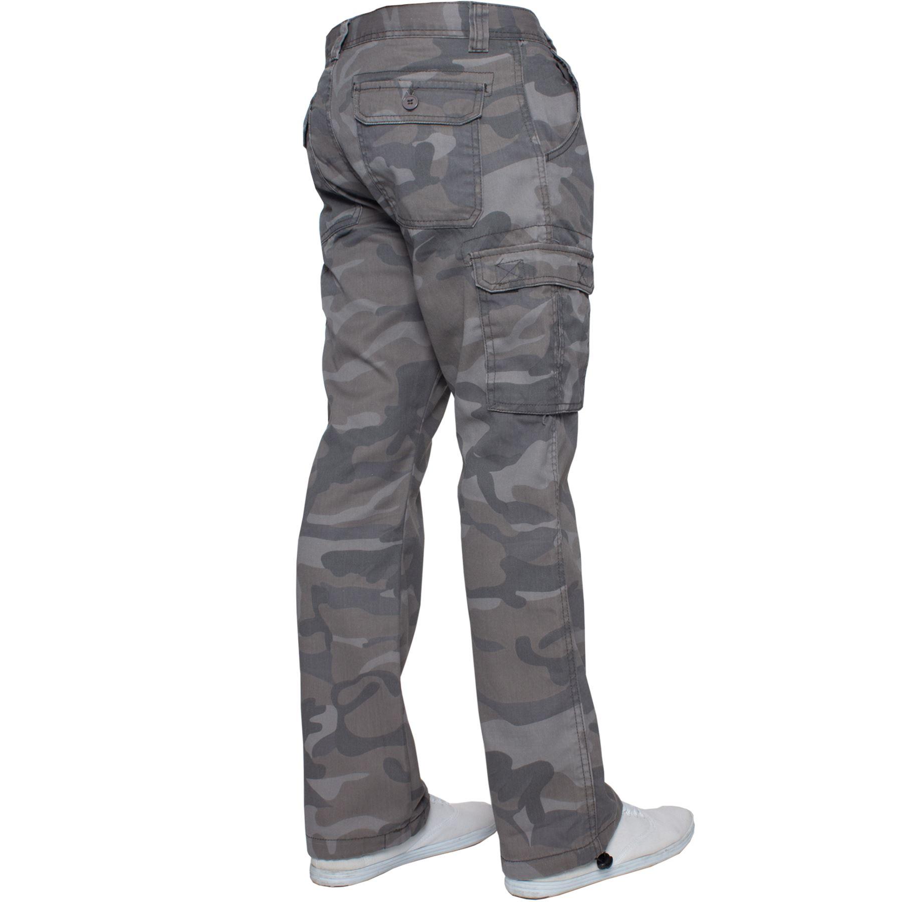Kruze-Uomo-Militare-Pantaloni-Camouflage-Cargo-Mimetico-Casual-Lavoro miniatura 10