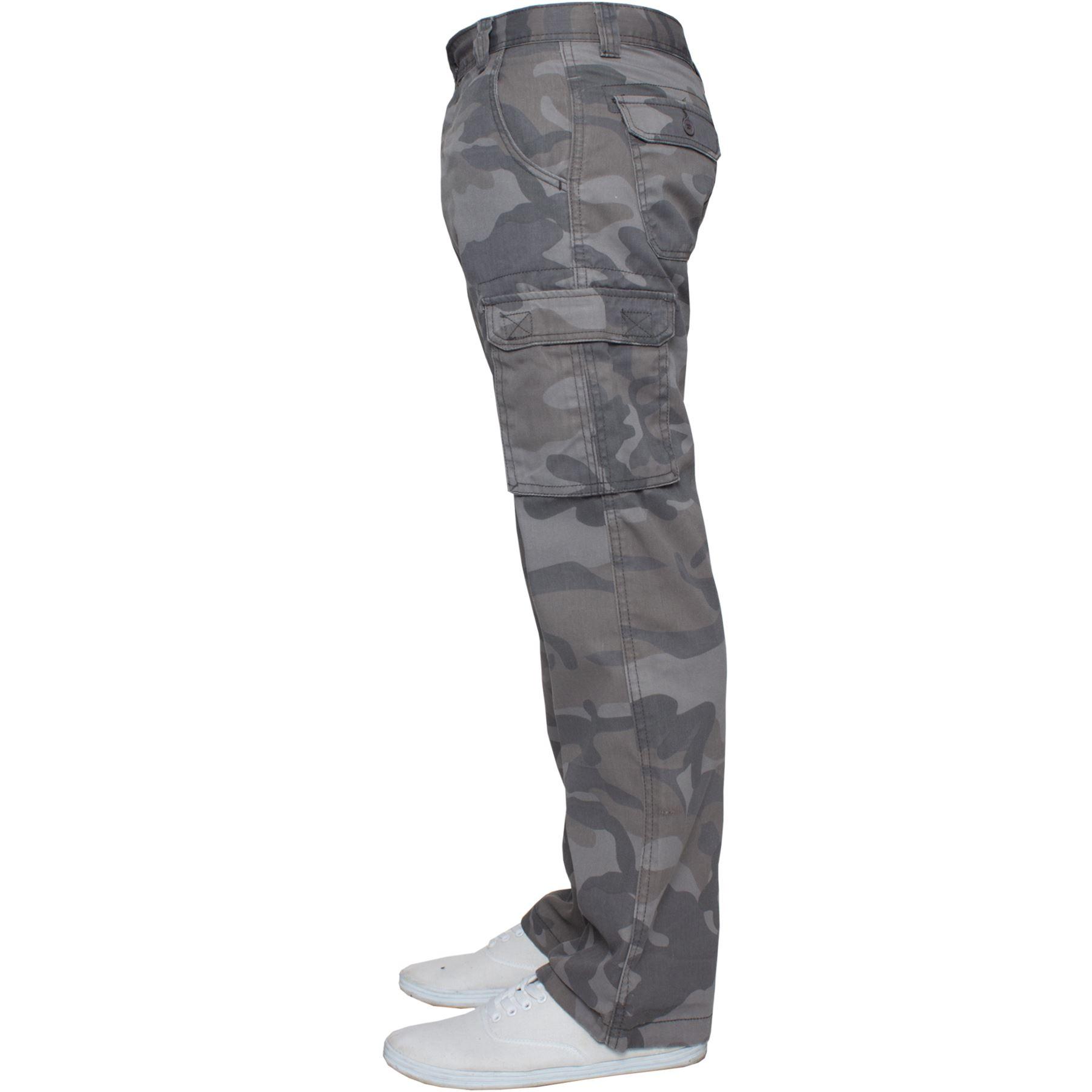 Kruze-Uomo-Militare-Pantaloni-Camouflage-Cargo-Mimetico-Casual-Lavoro miniatura 11