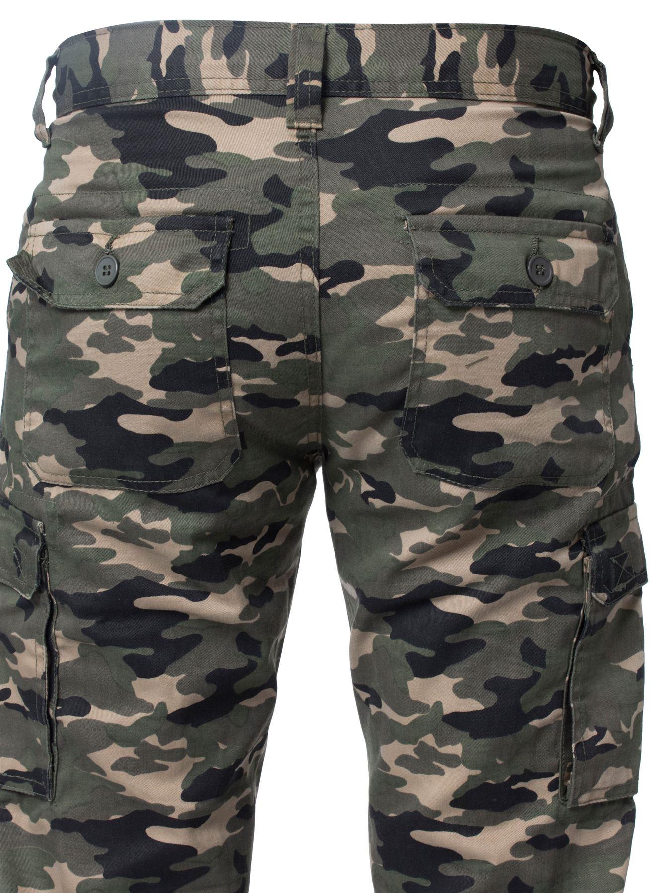 Kruze-Uomo-Militare-Pantaloni-Camouflage-Cargo-Mimetico-Casual-Lavoro miniatura 21