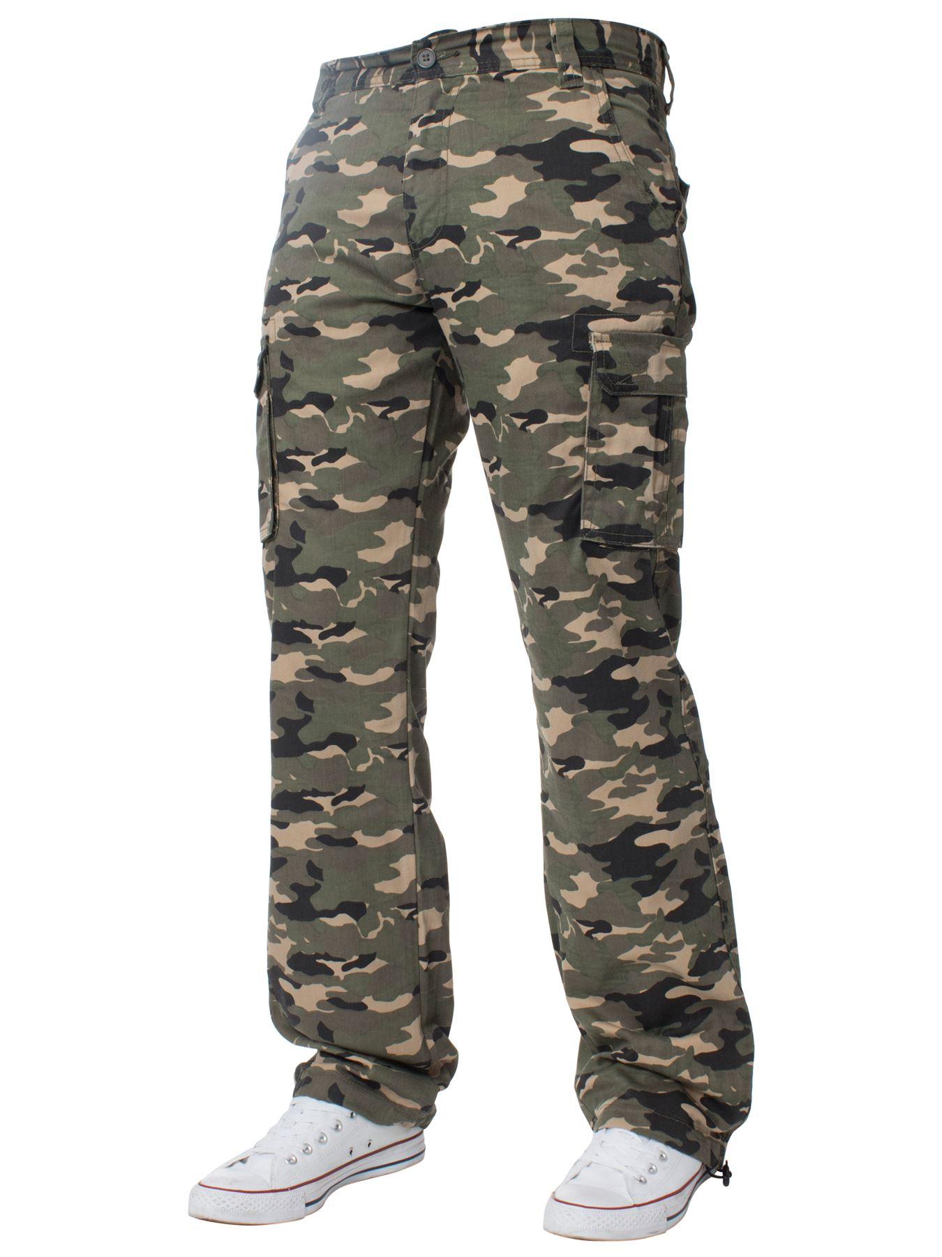 Kruze-Uomo-Militare-Pantaloni-Camouflage-Cargo-Mimetico-Casual-Lavoro miniatura 15