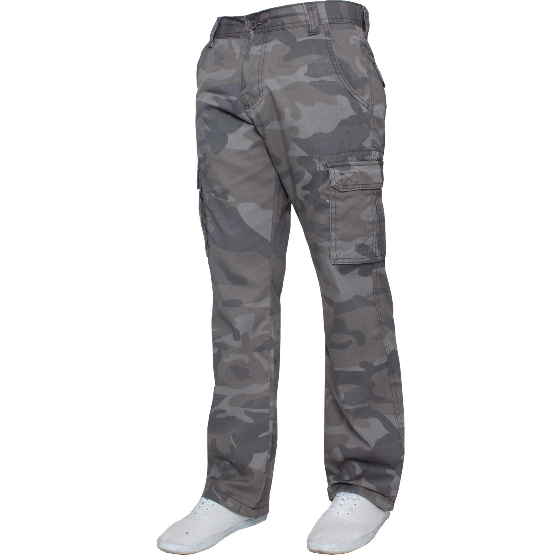 Kruze-Uomo-Militare-Pantaloni-Camouflage-Cargo-Mimetico-Casual-Lavoro miniatura 9