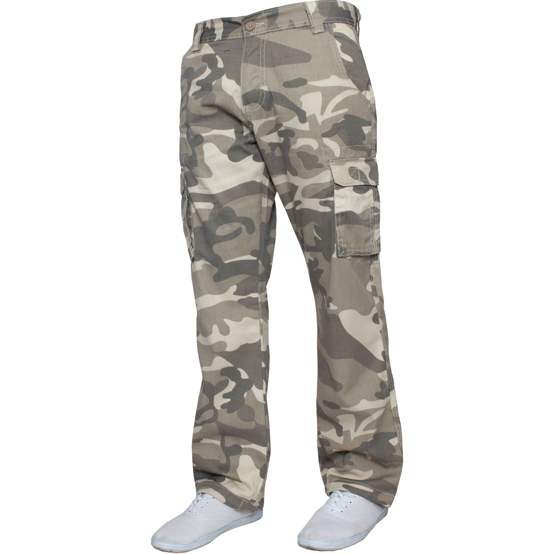 Kruze-Uomo-Militare-Pantaloni-Camouflage-Cargo-Mimetico-Casual-Lavoro miniatura 3