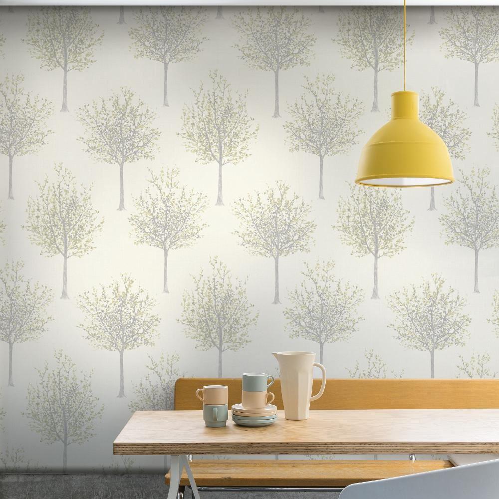 Grandeco nordique for t arbre motif papier peint textur - Papier peint motif arbres ...