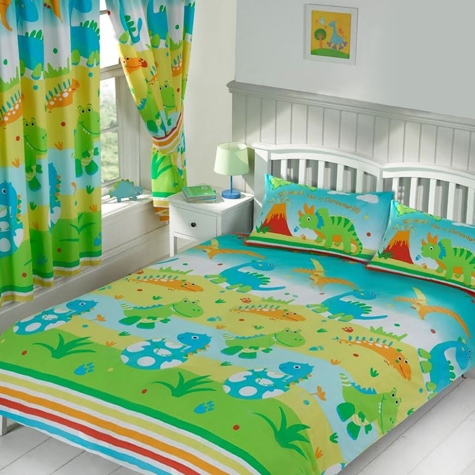 KIDS TEENAGER CHARACTER DOUBLE DUVET COVER SETS DINOSAUR POWER