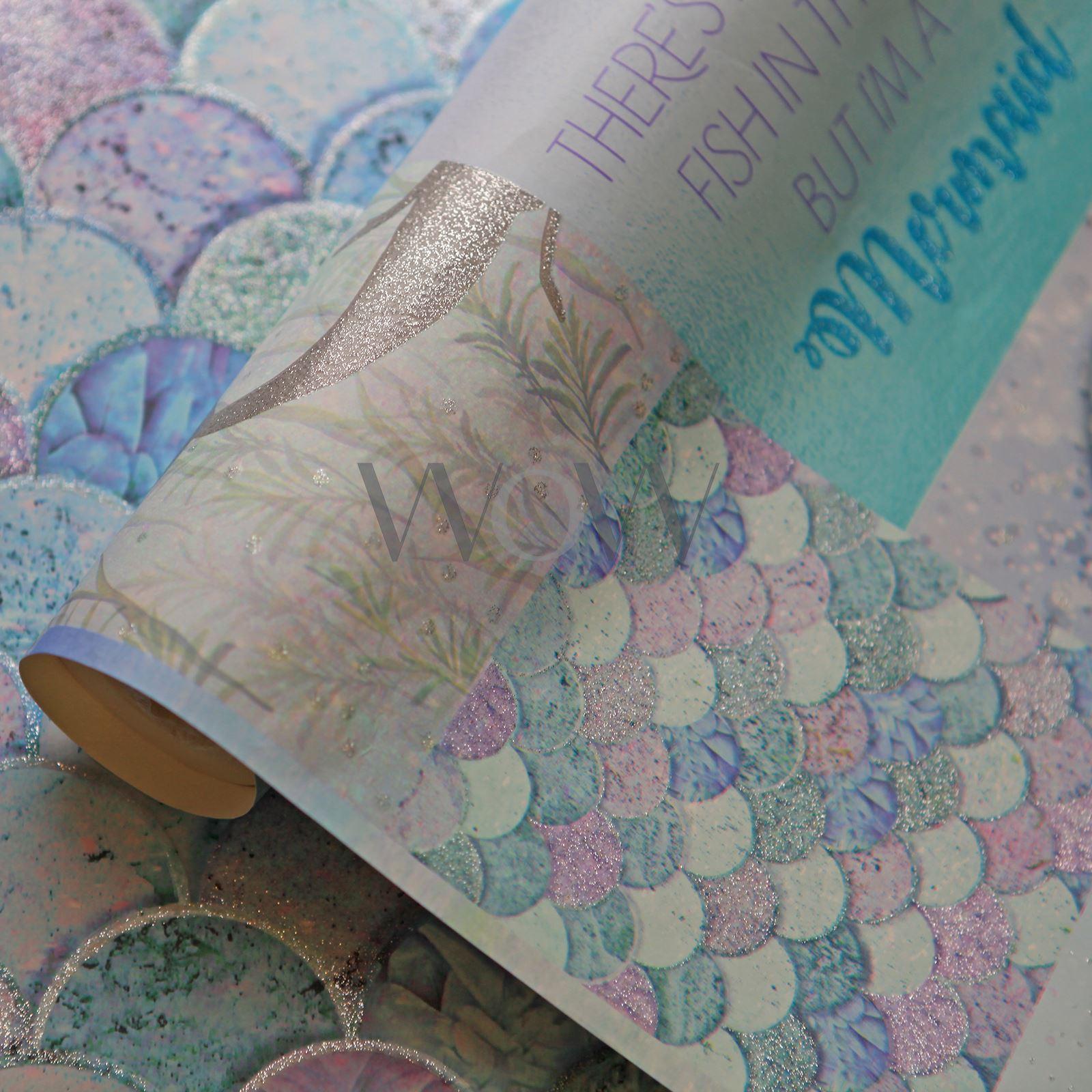 Arthouse Glitter Detail Kids Girls Bedroom Wallpaper: ARTHOUSE MERMAZING MERMAID SCALES & COORDINATING GLITTER