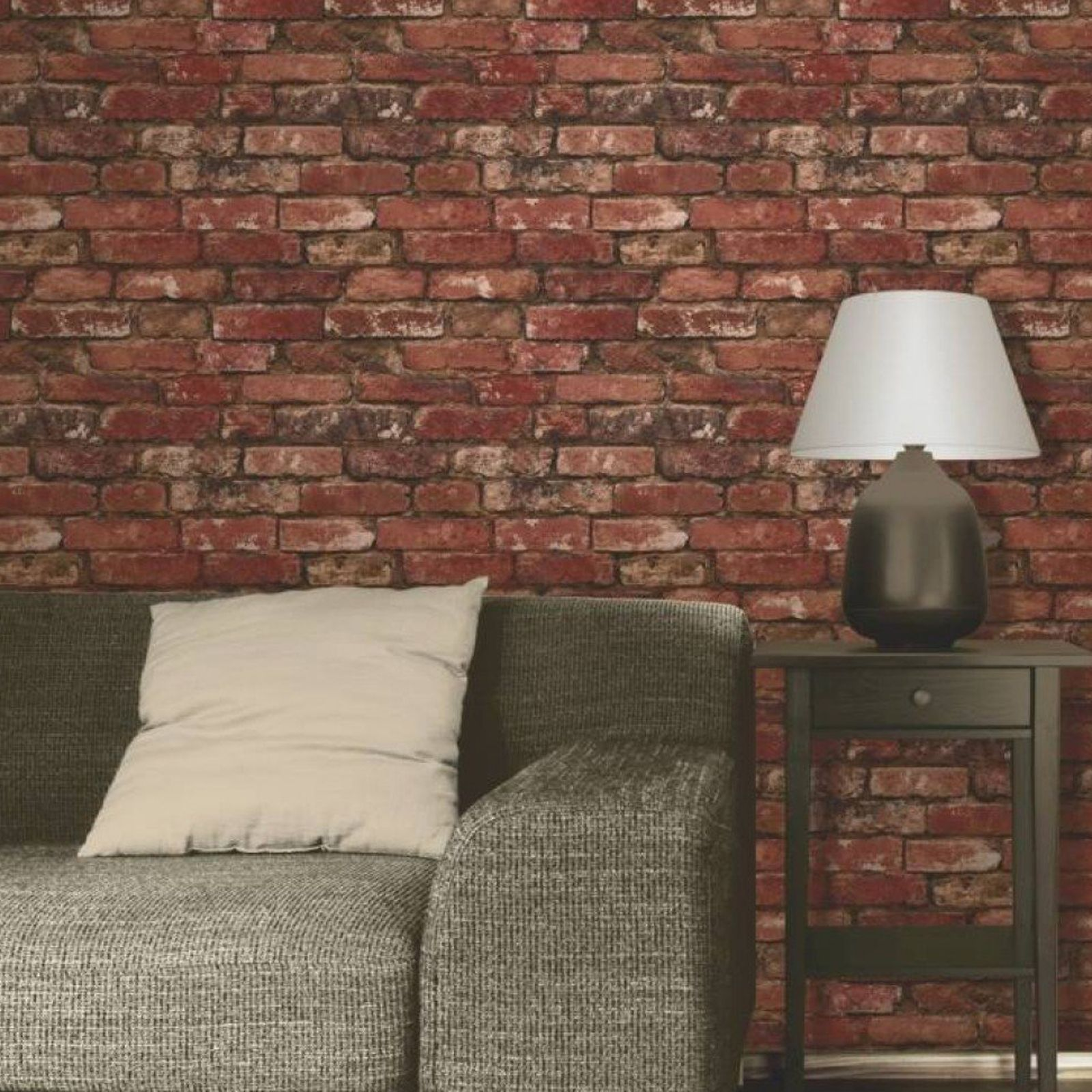 RED BRICK EFFECT REALISTIC WALLPAPER ROOM DECOR FEATURE