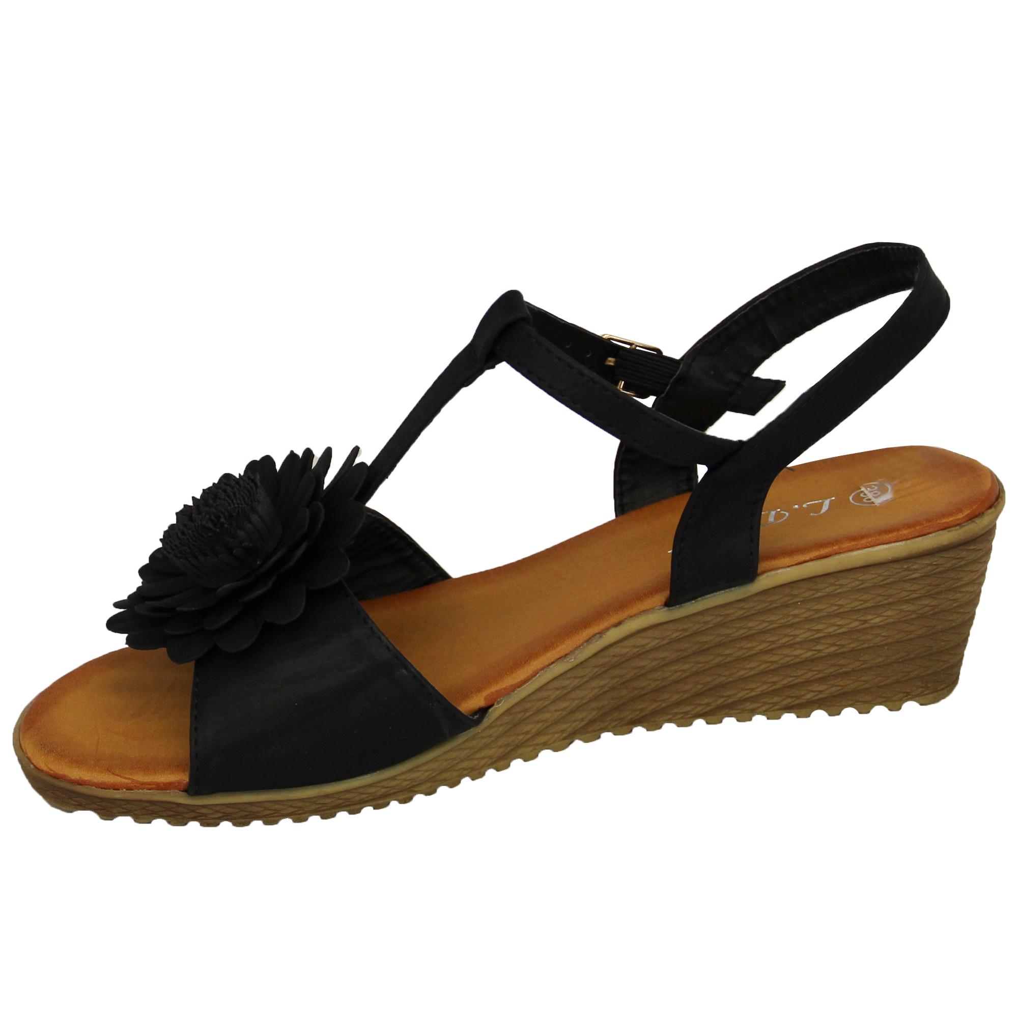 Damen Sling Keilabsatz Sandalen Damen Mädchen Open Toe Blumenschuhe Party Mode