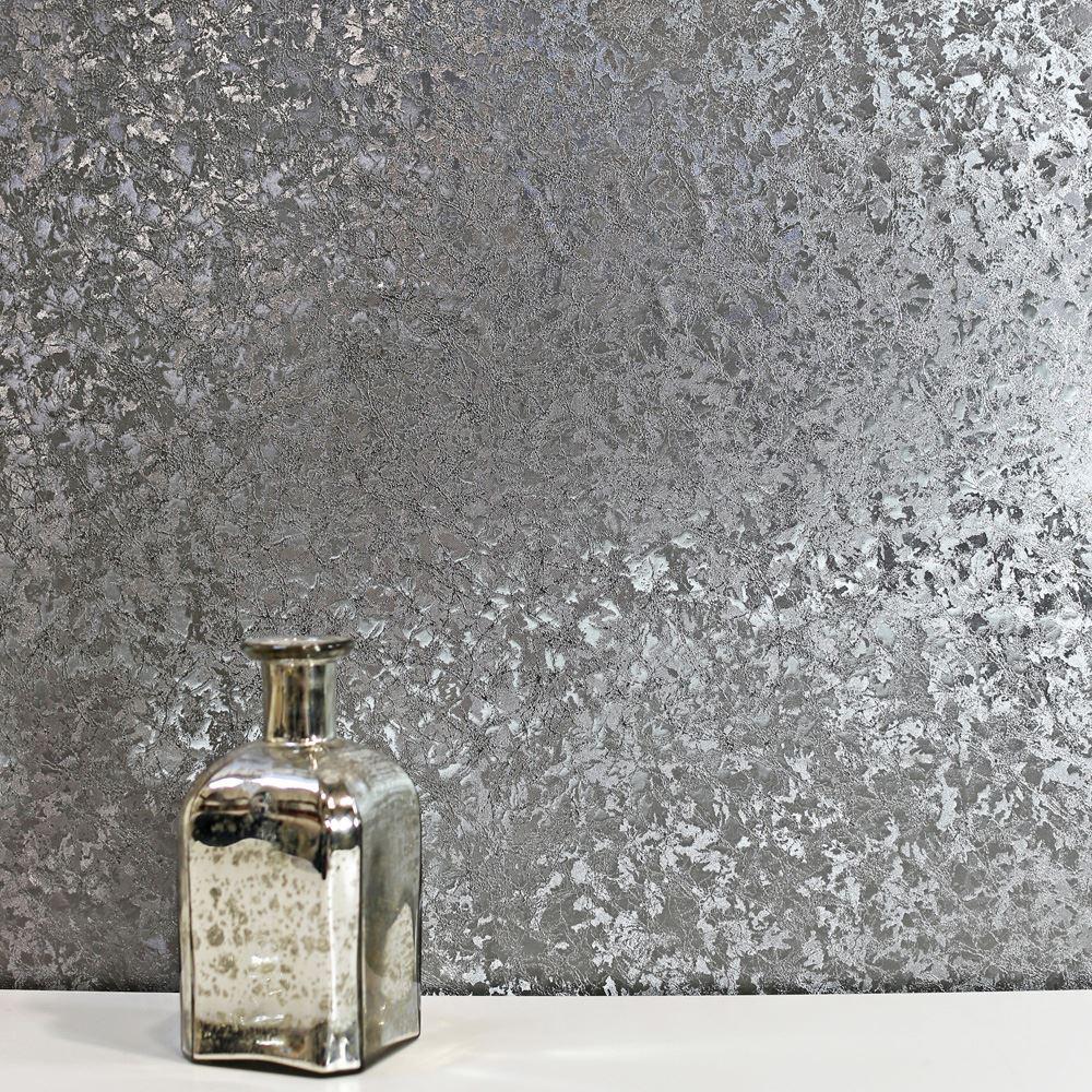 Crushed Velvet Foil Wallpaper Gunmetal Grey