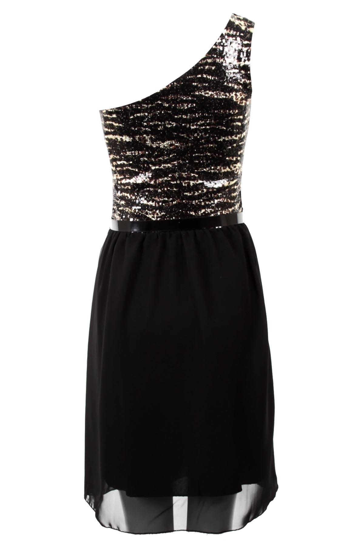 Mujer-asimetrico-noche-lentejuelas-Chiffon-Con-Cinturon-Vestido-De-Fiesta-Talla