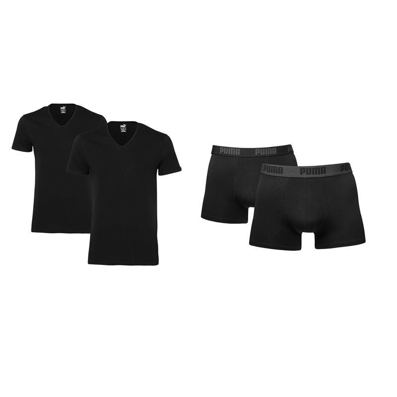 Puma-V-Cuello-T-Camiseta-Negro-Calzoncillo-boxer-mix-Paquete-S-XL-NUEVO