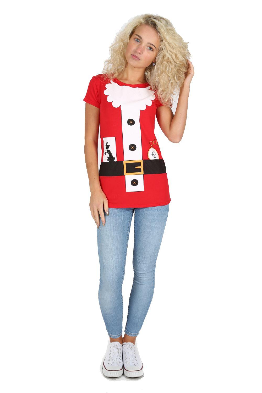 Womens Christmas T Shirt Ladies Long Sleeve Xmas Santa Costume ...