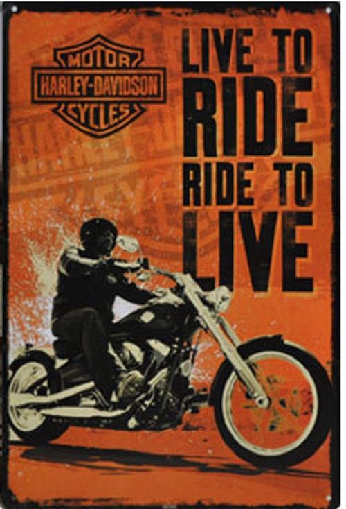 Vintage-Clasico-Antiguo-Metal-Placa-De-Pared-Motor-Coches-Moto-Harley-Davidson