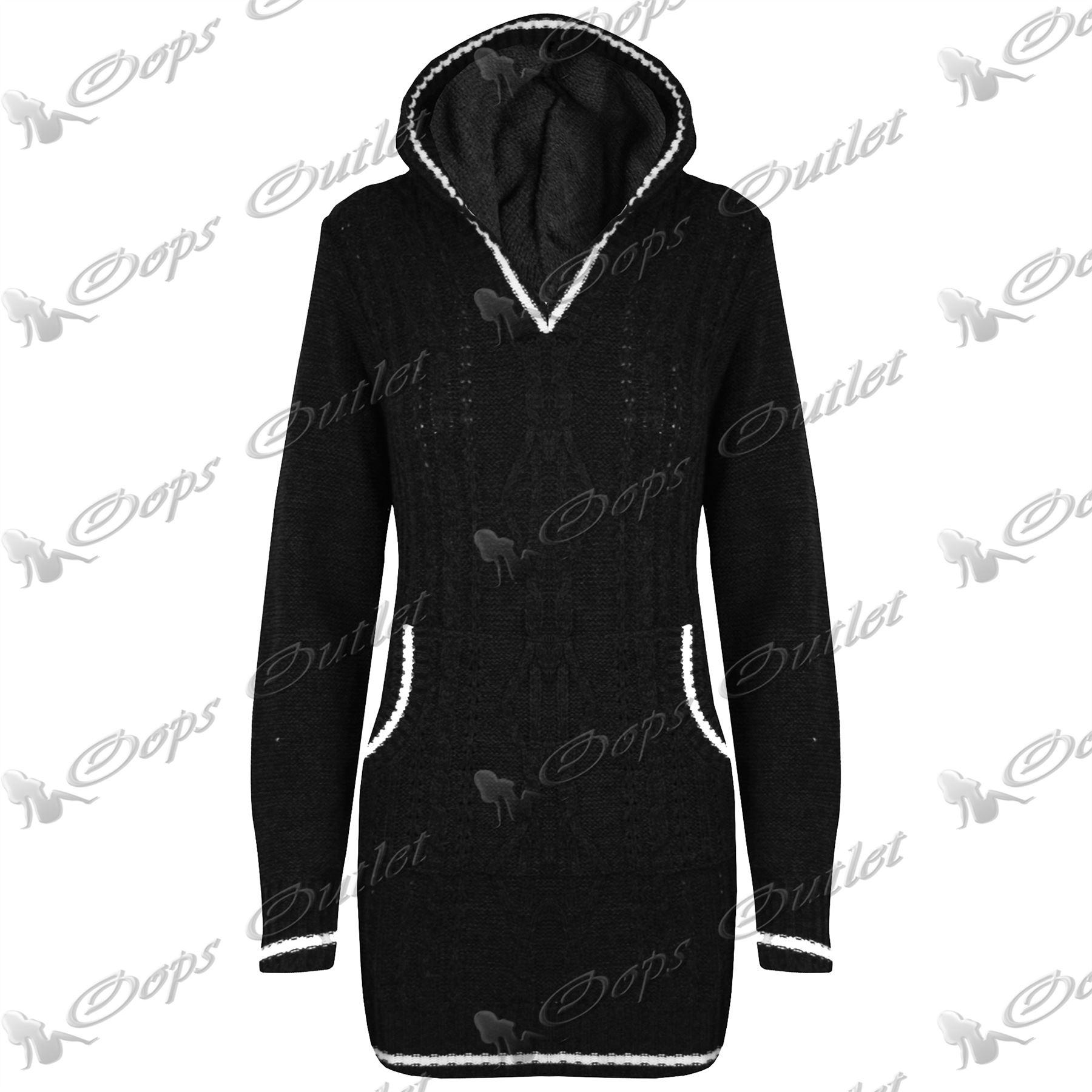 Damen grob gestrickt top mit kapuze pullover sweatshirt - Sweatshirt kleid lang ...