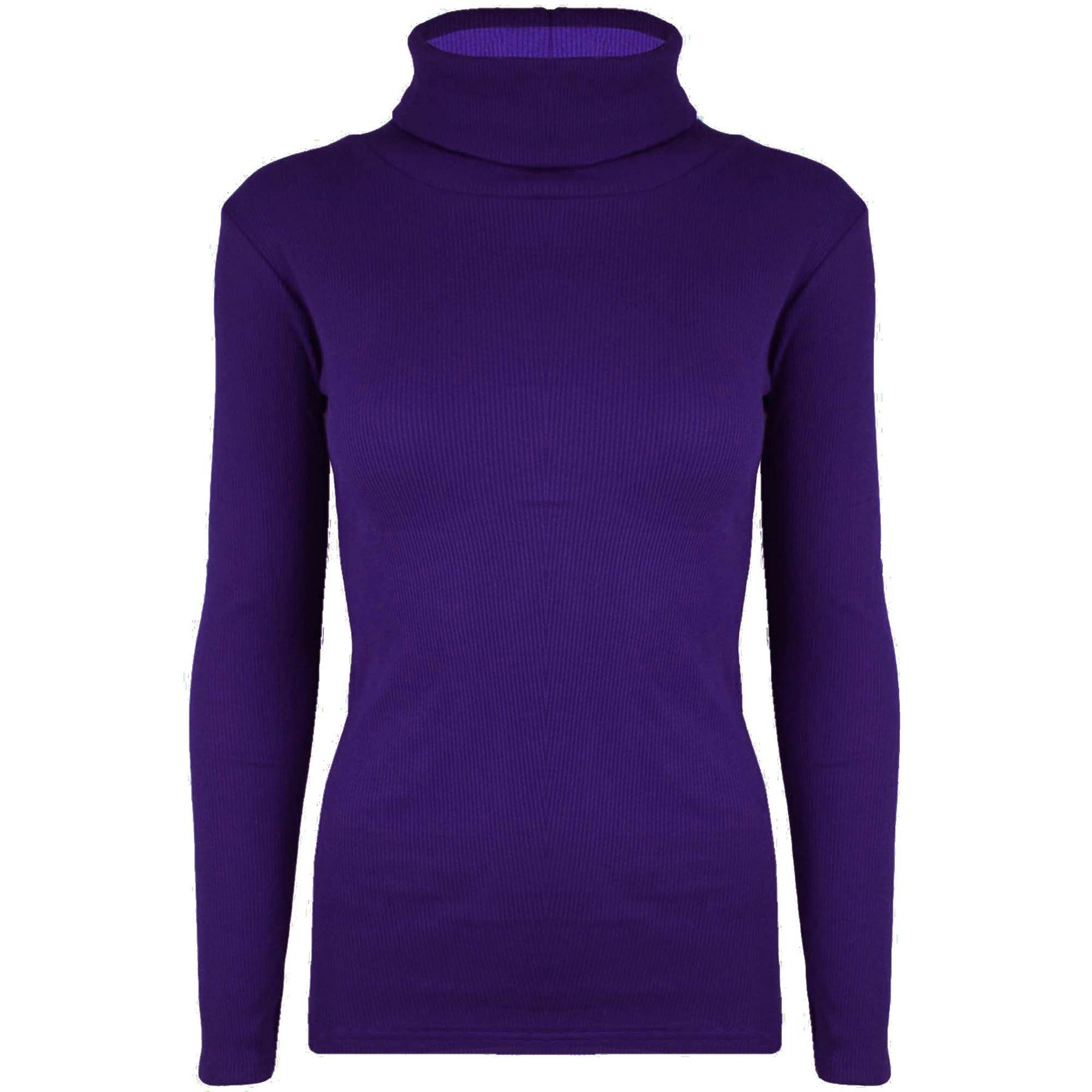 neu damen dehnbar rollkragen rollkragen gerippt lang rmlig t shirt top ebay. Black Bedroom Furniture Sets. Home Design Ideas