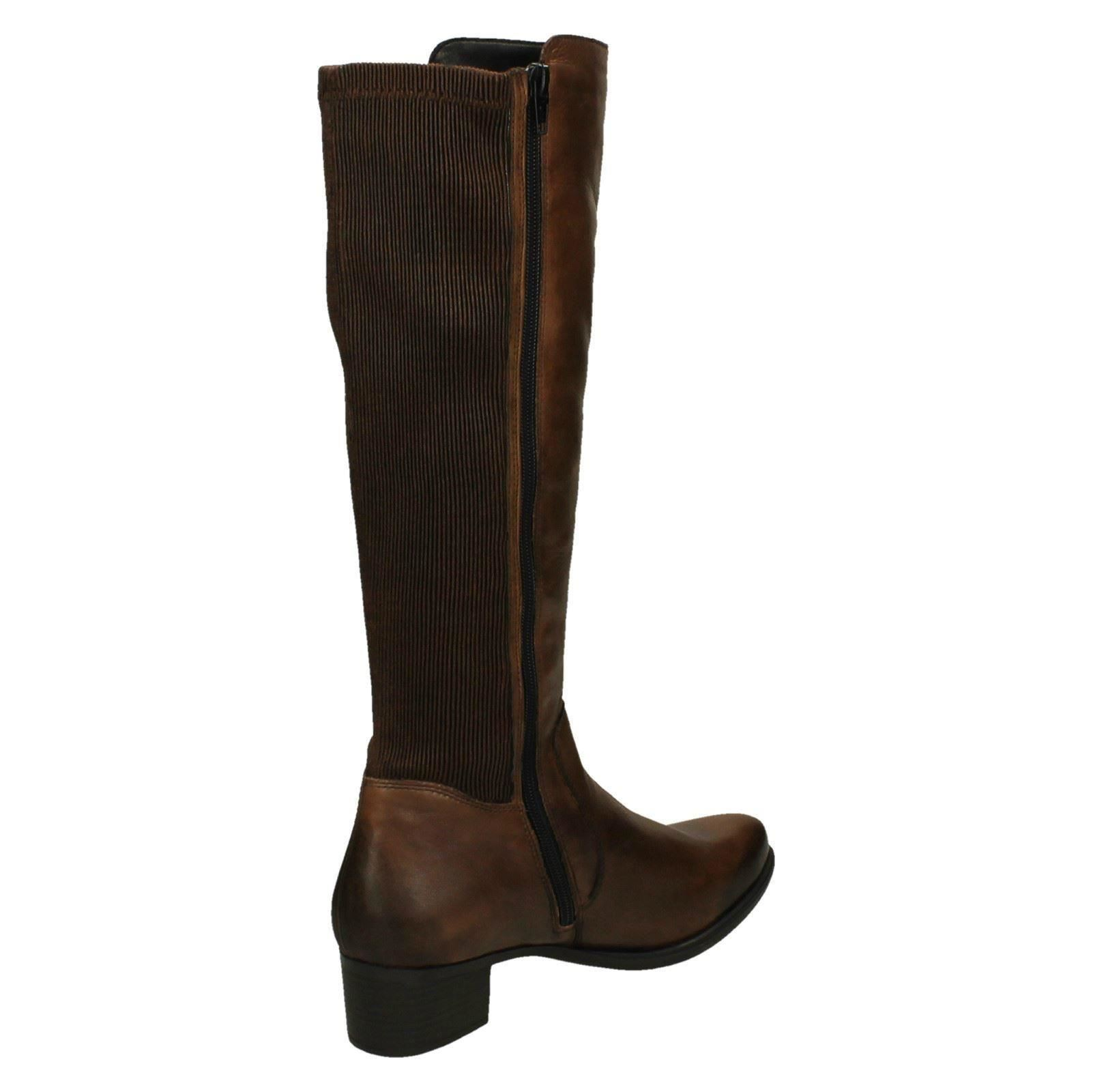 Ladies Shoes Synthetic Leather Low Cuban Heel Zip Knee High Boots US Size b265