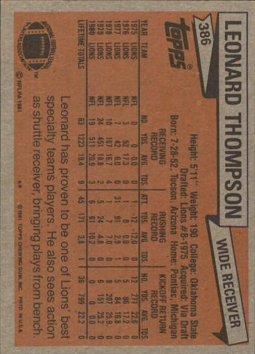 1981-Topps-Futbol-Tarjeta-Recoger-327-527 miniatura 71