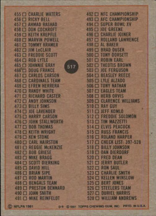 1981-Topps-Futbol-Tarjeta-Recoger-327-527 miniatura 211