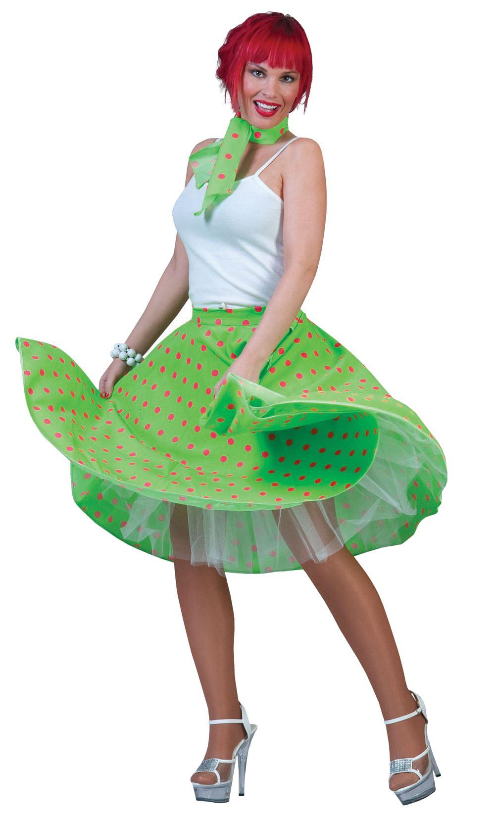 Mujer-De-Lunares-falda-amp-Bufanda-Rock-n-Roll-Anos-50-ANOS-60-Disfraz