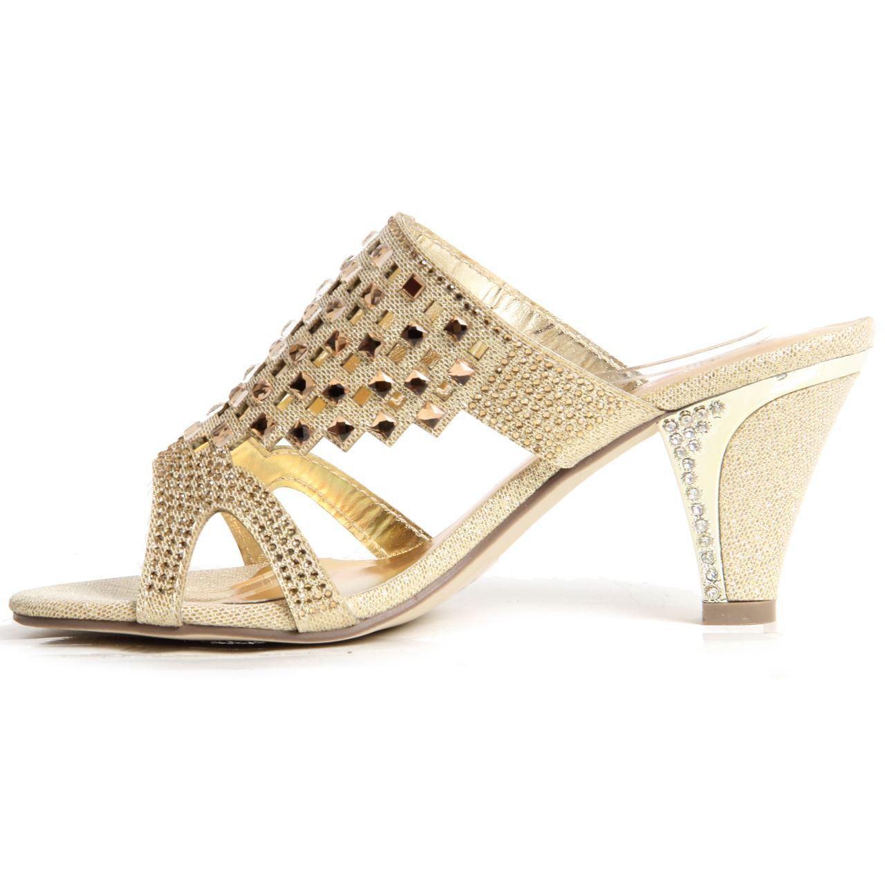 Bloque À Sandales Cintillant Diamant Talon Enfiler Femmes Chaussures Soirée E7wqTC