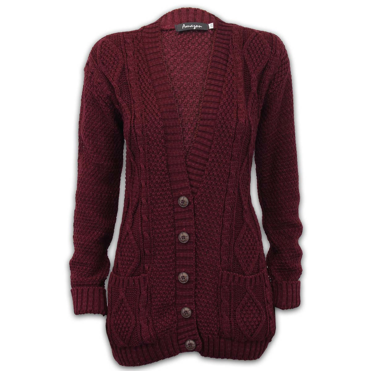 Ladies Cardigans Womens Knitted Jumper Cable Jacquard ...