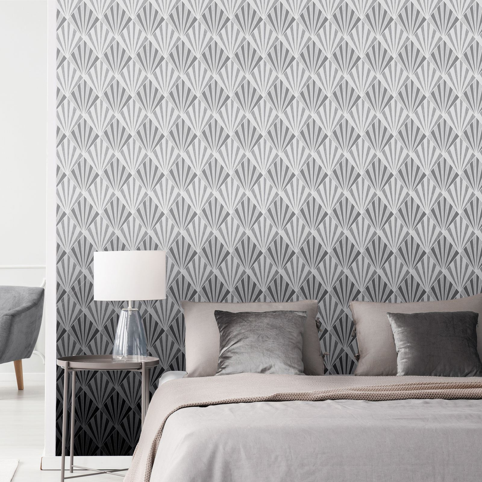 Harper Géométrique Papier Peint Gris /& Argent PAILLETTES 9743 Belgravia
