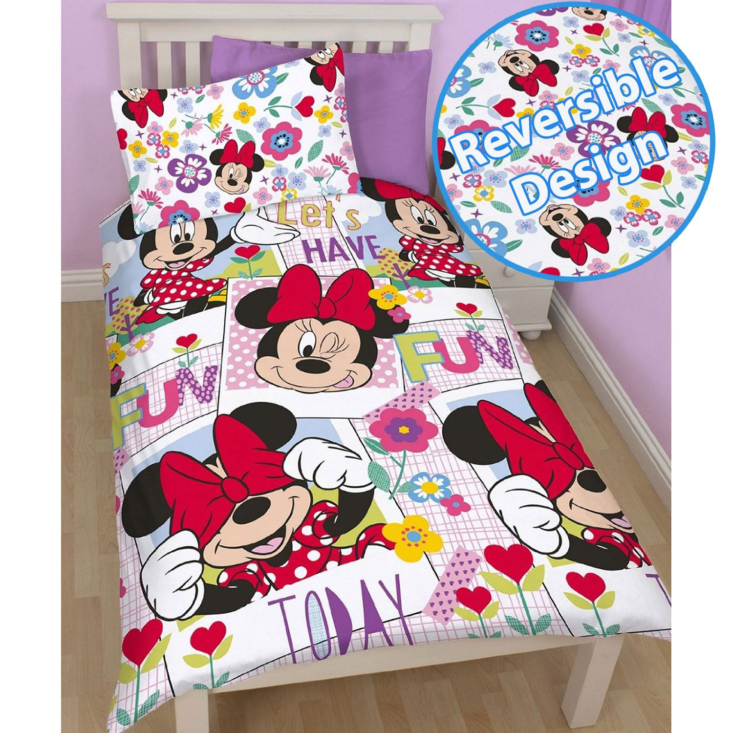 DISNEY MICKEY OR MINNIE MOUSE SINGLE DUVET COVER SETS KIDS BEDROOM