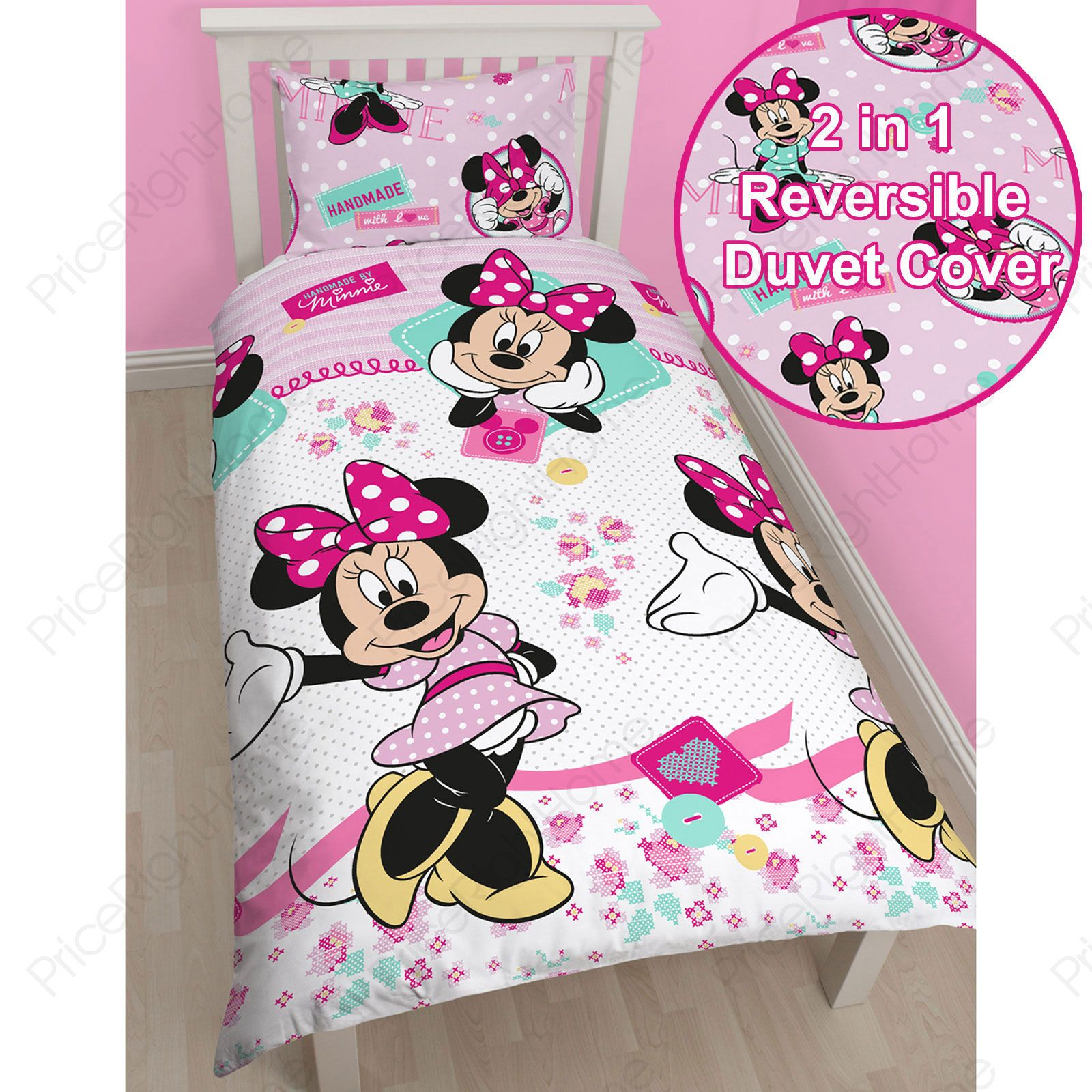 disney mickey oder minnie maus einzeln junior bettbezug sets kinder bettw sche ebay. Black Bedroom Furniture Sets. Home Design Ideas