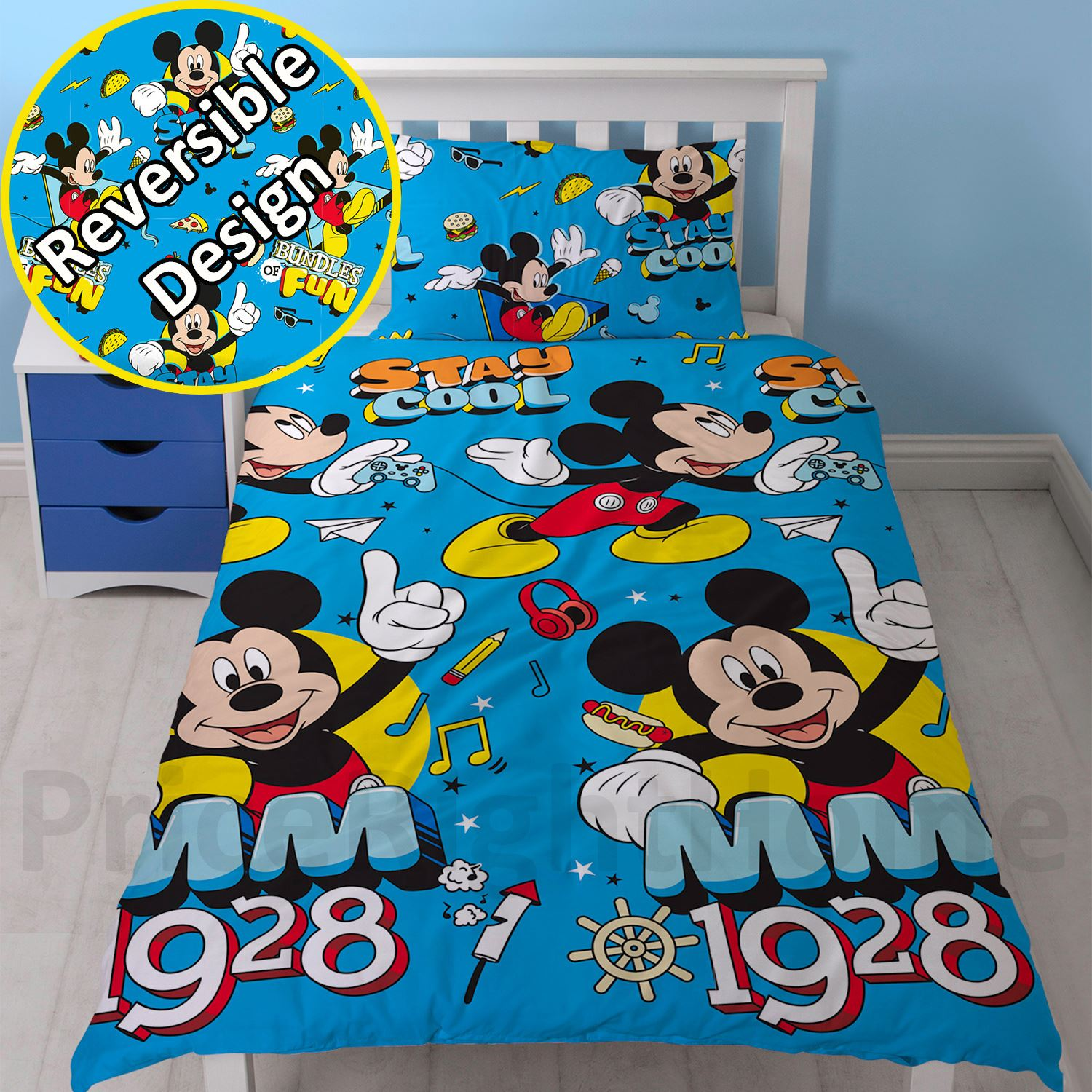 disney mickey oder minnie mouse einzeln junior bettbezug sets kinder bettw sche ebay. Black Bedroom Furniture Sets. Home Design Ideas
