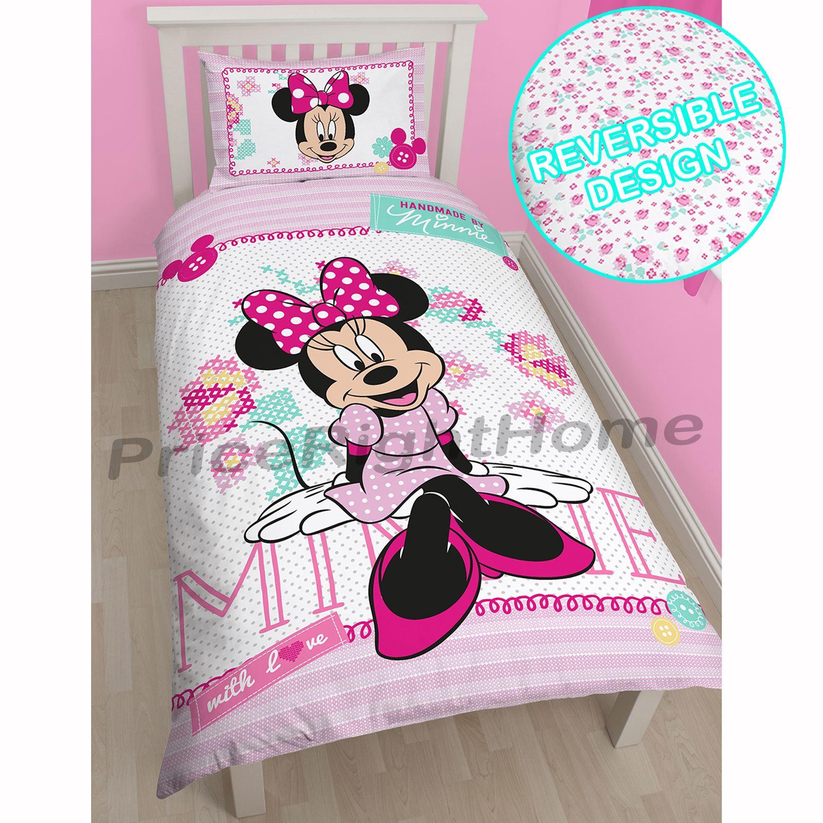 disney mickey oder minnie maus einzeln junior bettbezug sets kinder bettw sche ebay. Black Bedroom Furniture Sets. Home Design Ideas