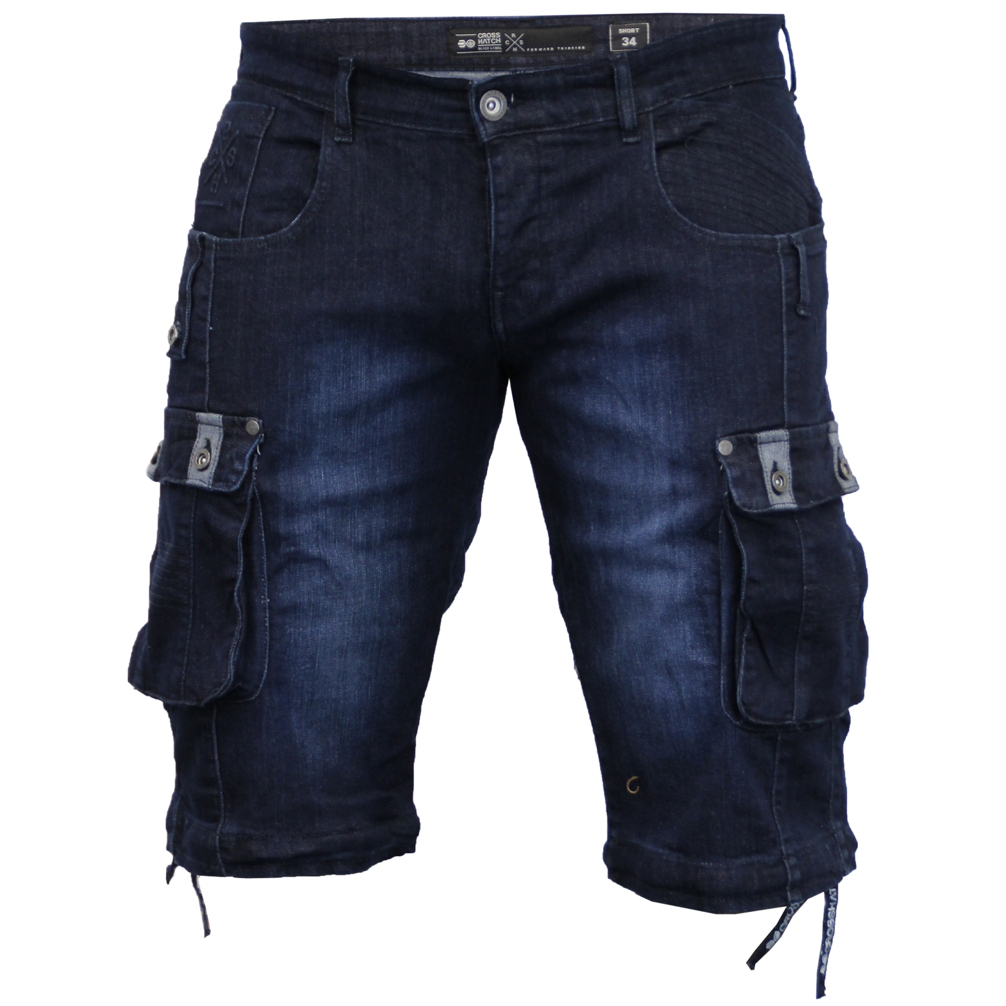 herren denim knielang cargo shorts von crosshatch ebay. Black Bedroom Furniture Sets. Home Design Ideas