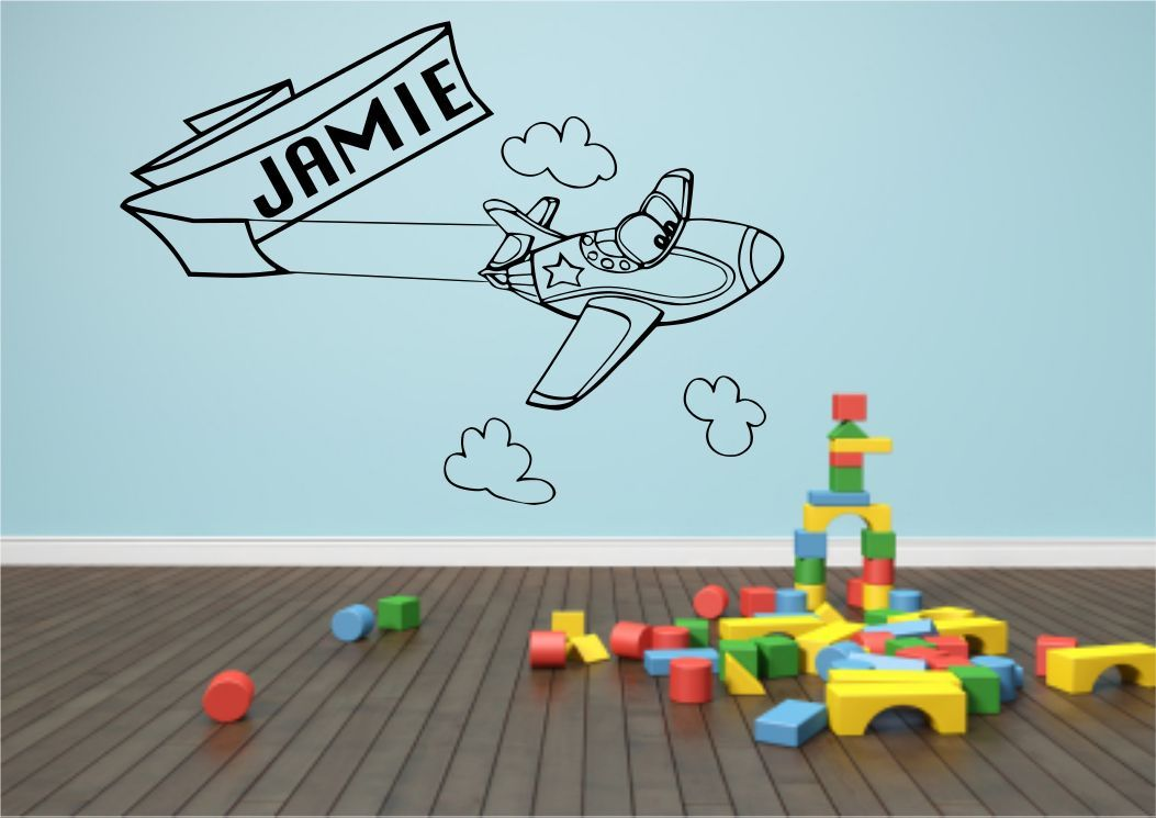 Personalised aeroplane airplane plane name wall sticker for Aeroplane wall mural