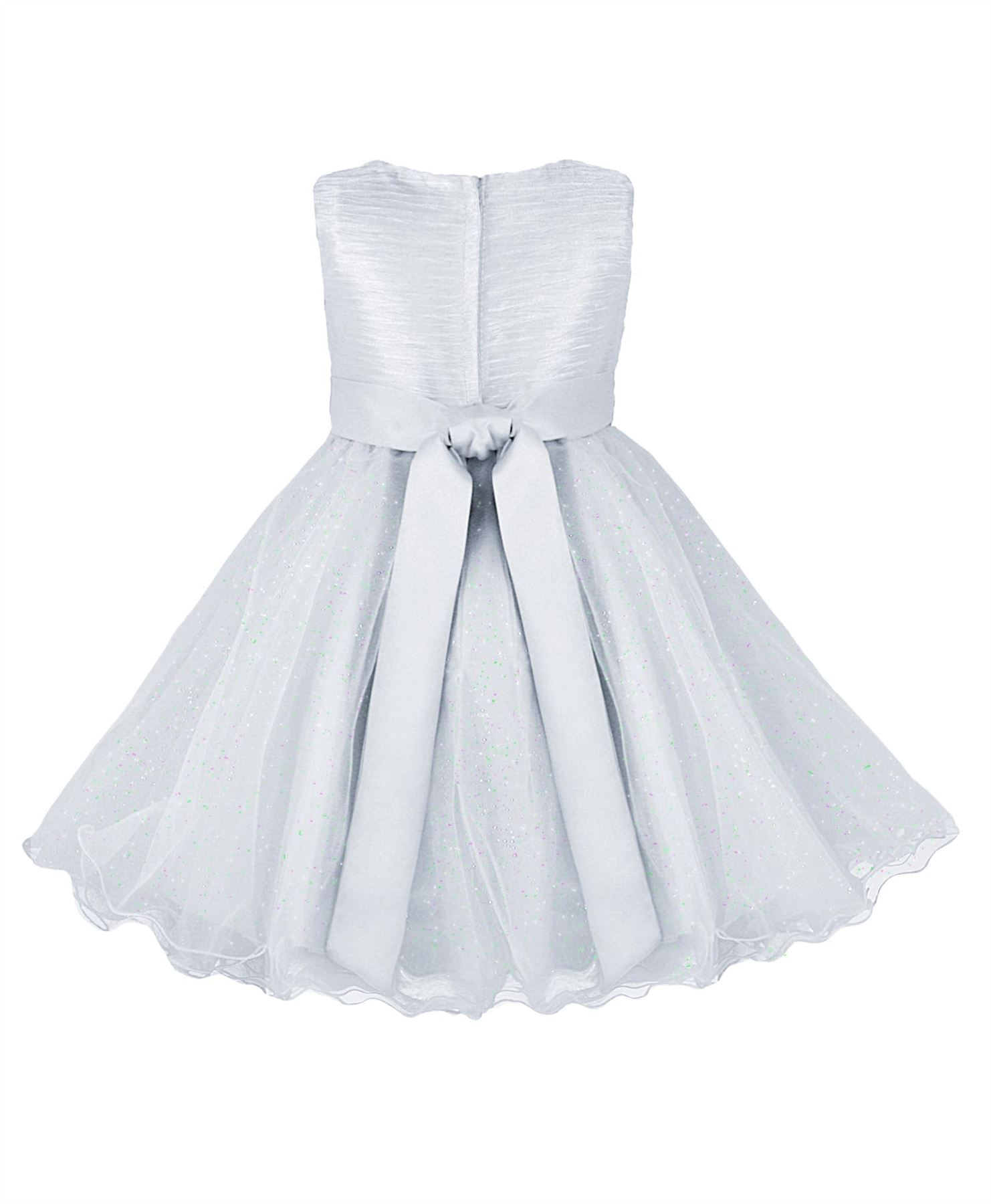 Girls Tulle Party Dress Bow Detail Flower Girl Wedding Pageant