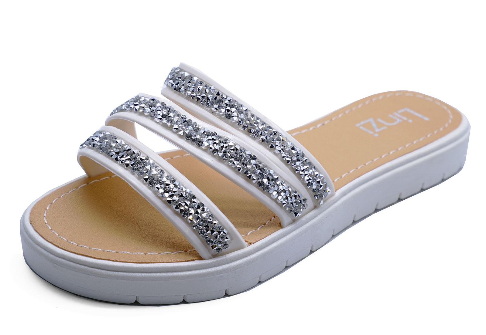 Mujer Blanco Chanclas Diamante Sandalias SLIDER Zapato plano Vacaciones
