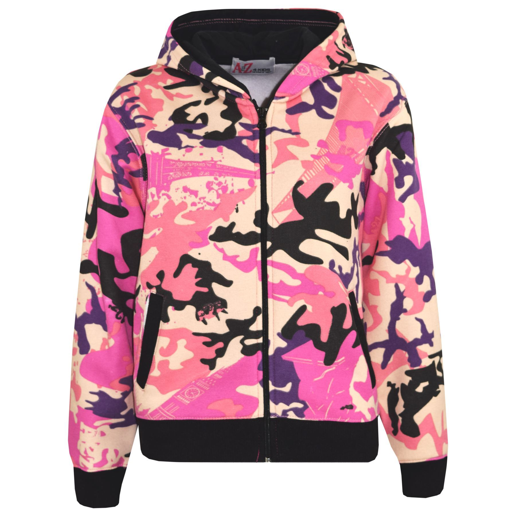 Girls Tracksuit Kids A2Z Camouflage Baby Pink Top /& Bottom Jogging Suit 5-13 Yr